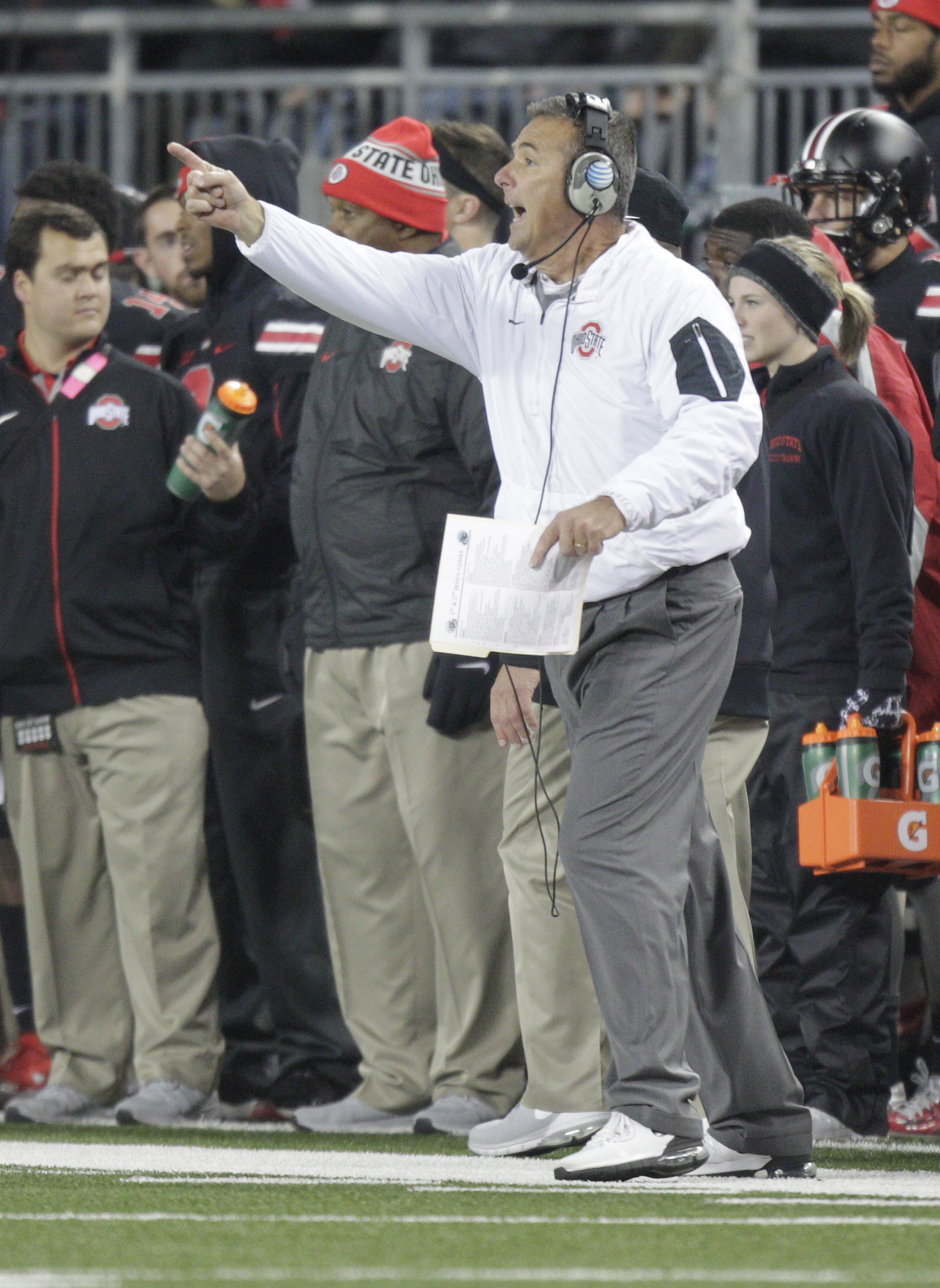 Ohio State head coach Urban Meyer shouts to his team during the first half of their NCAA college football game against Penn State, Saturday, Oct. 17, 2015, in Columbus, Ohio. (AP Photo/Jay LaPrete)