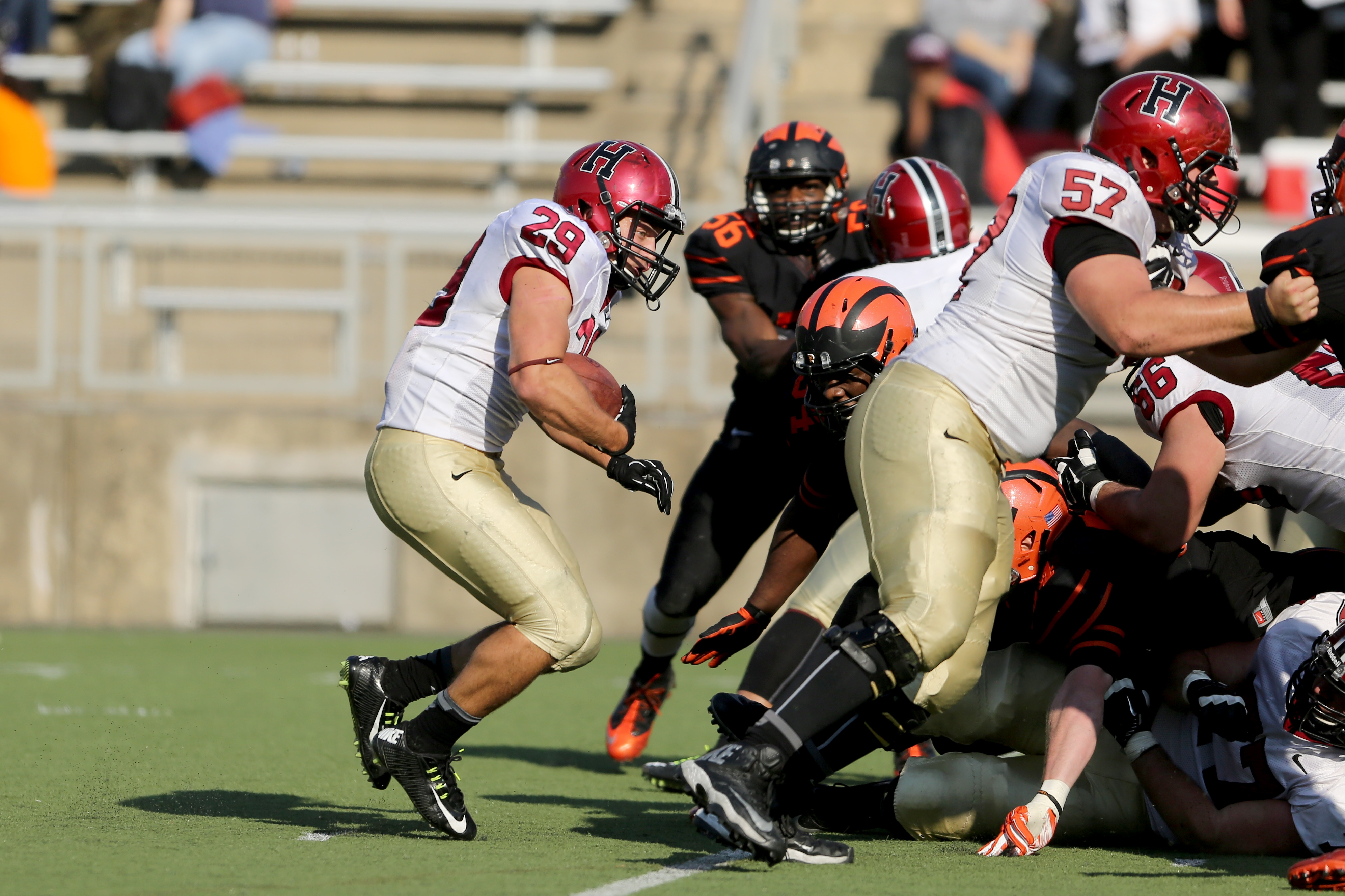Harvard Crimson Paul Stanton Jr. #29 in action against the Princeton Tigers during a college football game on Saturday, October 25, 2014 in  Princeton,NJ.  Harvard won 49-7.  (AP Photo/Gregory Payan)