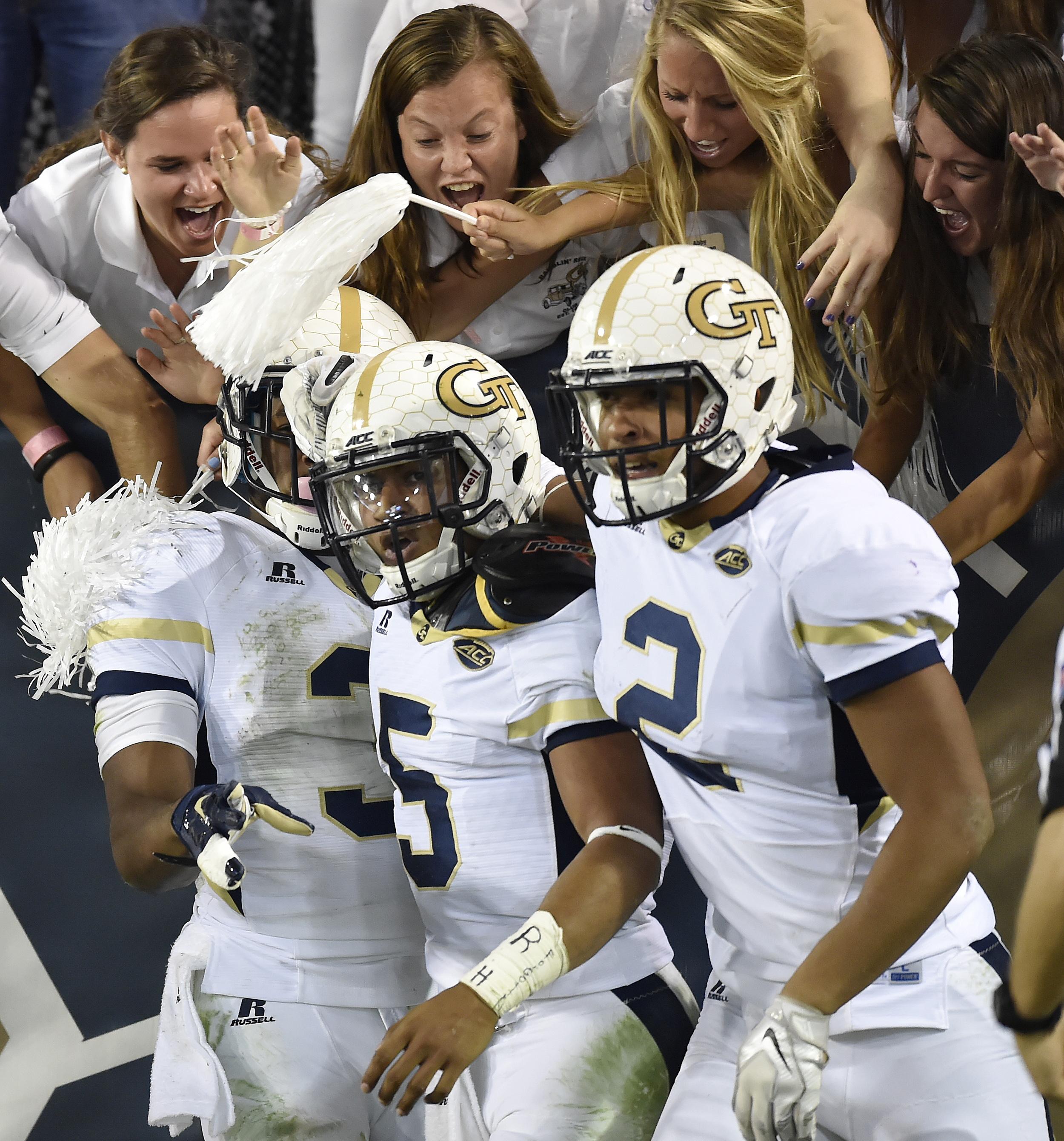 Georgia Tech quarterback Justin Thomas (5) celebrates his touchdown against Florida State during the first half of an NCAA college football game, Saturday, Oct. 24, 2015, in Atlanta. (AP Photo/Jon Barash)