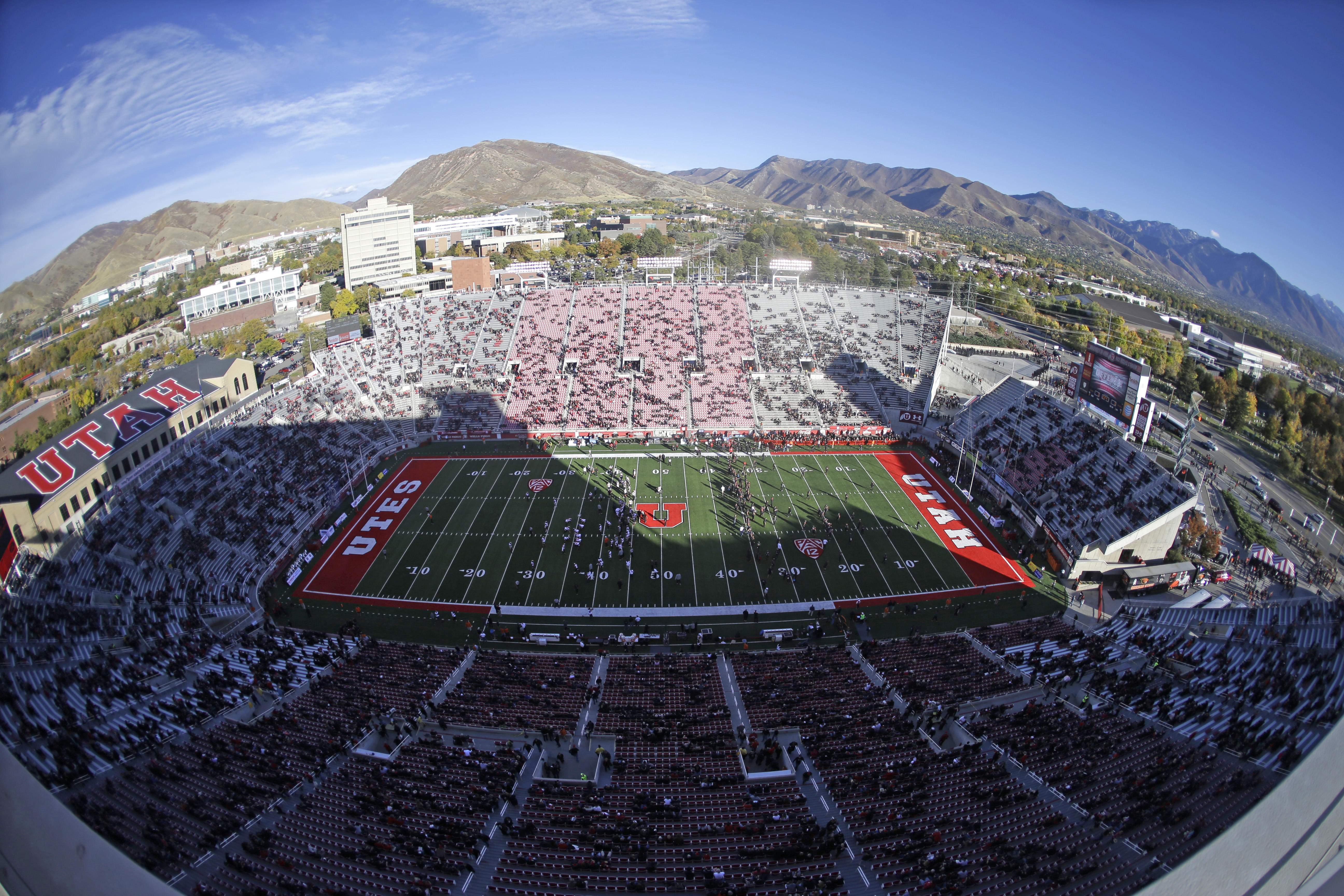 Utah's Rice-Eccles Stadium is viewed before an NCAA college football game between Oregon State and Utah, Saturday, Oct. 31, 2015, in Salt Lake City. (AP Photo/Rick Bowmer)