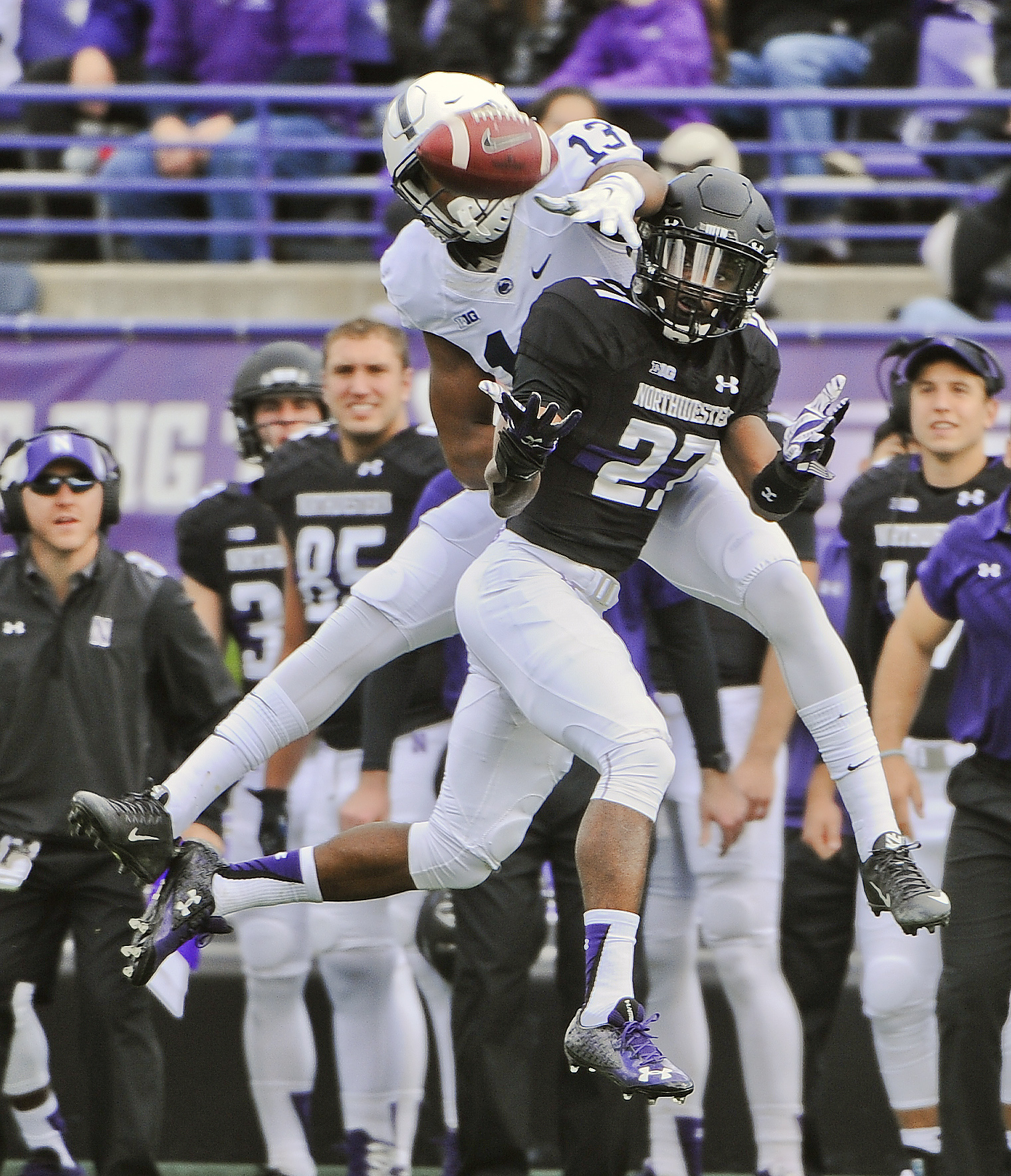 Northwestern cornerback Matthew Harris (27) breaks up a pass intended for Penn State wide receiver Saeed Blacknall (13) during the first quarter of an NCAA college football game in Evanston, Ill.,  Saturday, Nov. 7, 2015. (AP Photo/Matt Marton)
