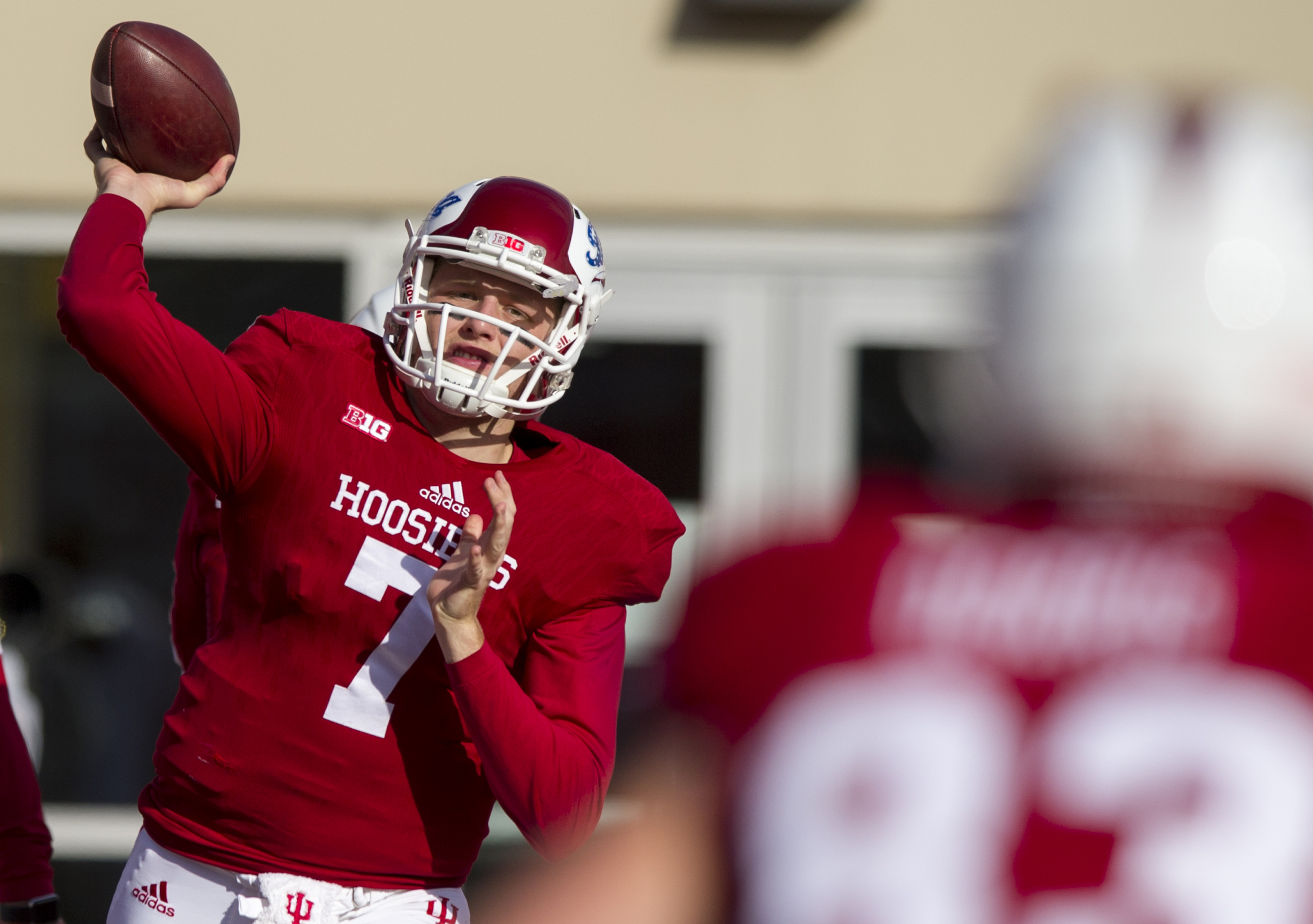 Indiana quarterback Nate Sudfeld (7) warms up on the field before the start of an NCAA college football game in Bloomington, Ind., Saturday, Nov. 7, 2015. (AP Photo/Doug McSchooler)