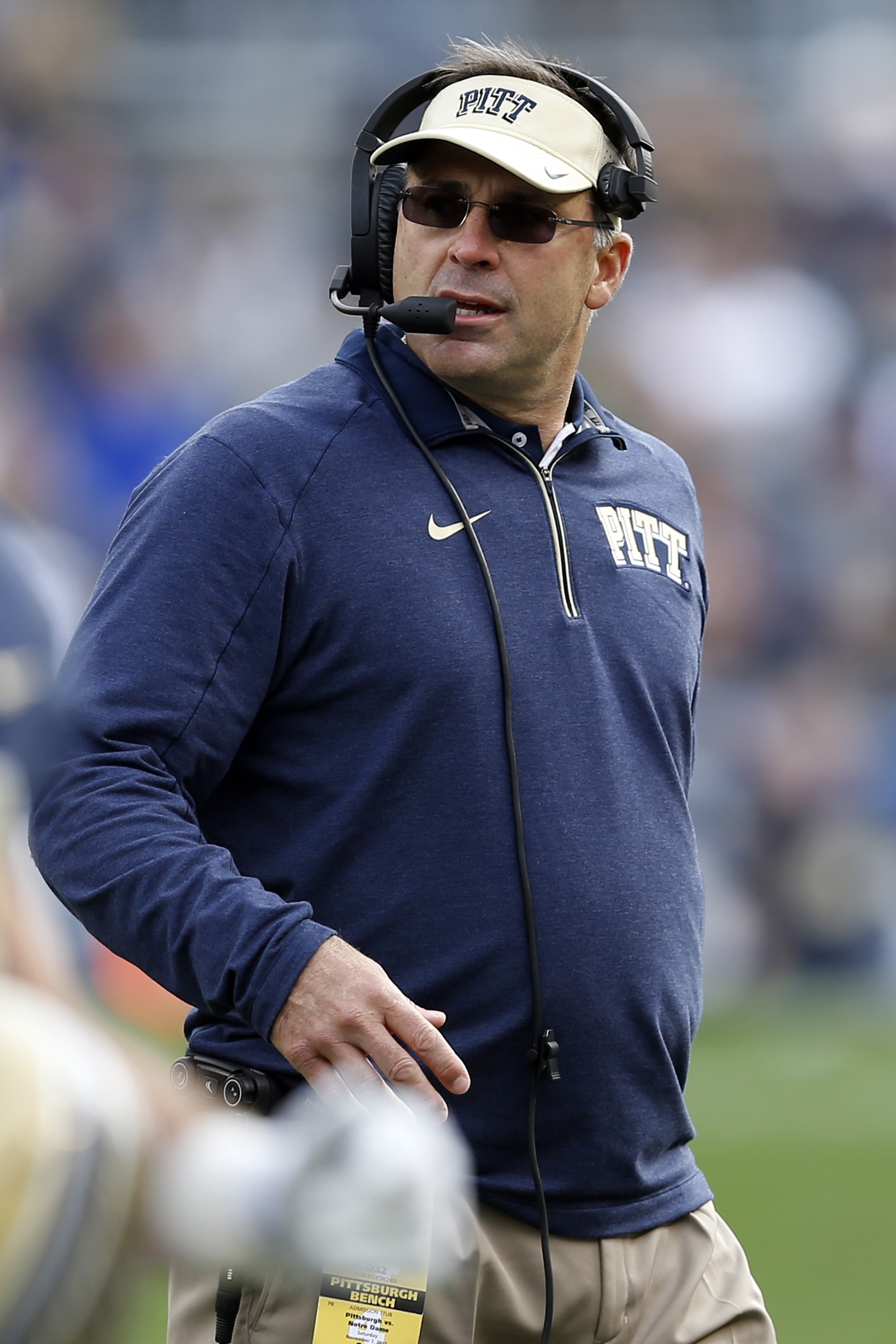 Pittsburgh head coach Pat Narduzzi looks back at the field during a timeout in the second quarter of an NCAA football game against Notre Dame, Saturday, Nov. 7, 2015, in Pittsburgh. Notre Dame won 42-30. (AP Photo/Keith Srakocic)