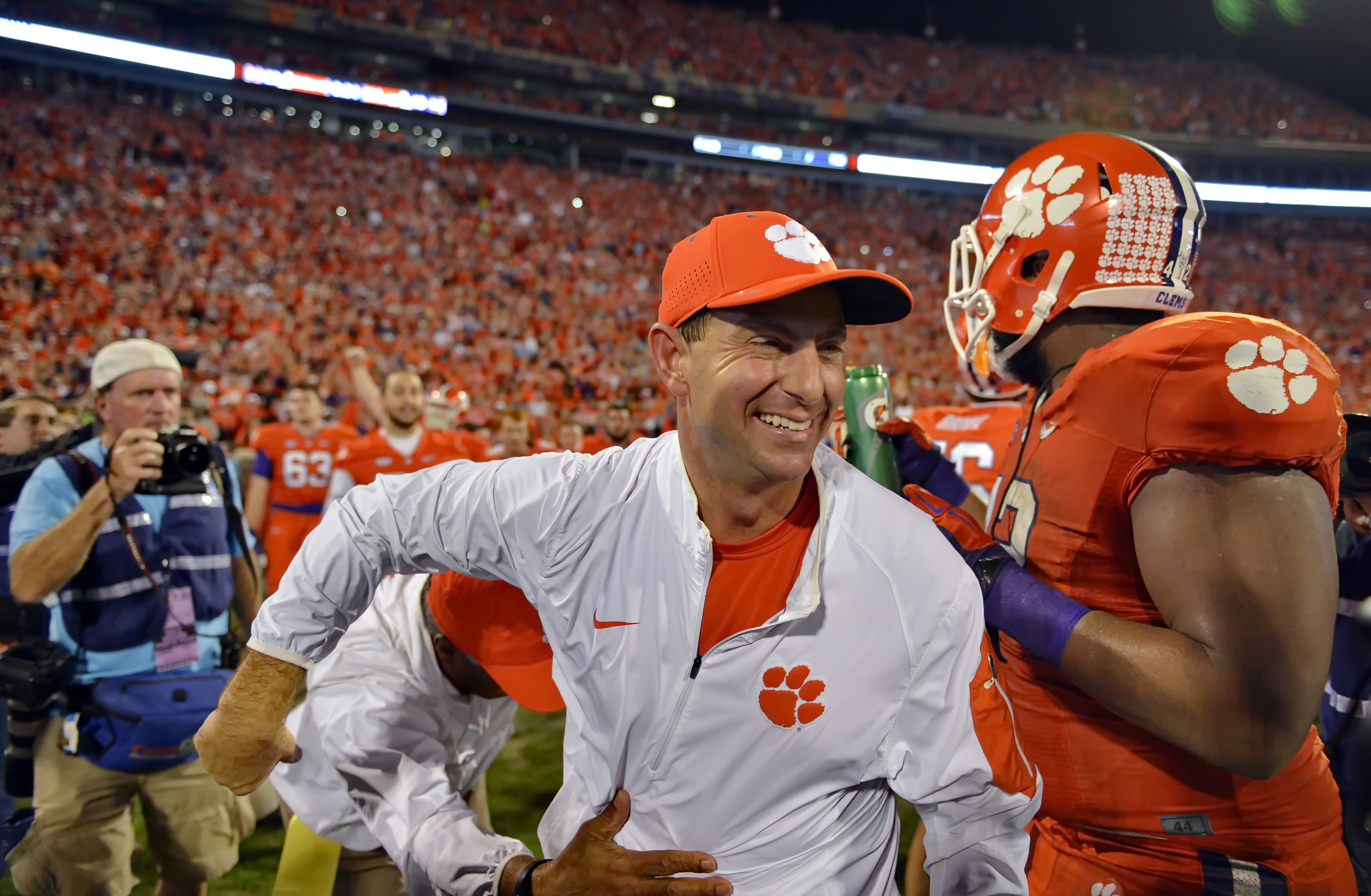 Clemson head coach Dabo Swinney celebrates after their 23-17 win over Florida State in an NCAA college football game, Saturday, Nov. 7, 2015,  in Clemson,  S.C. (AP Photo/Richard Shiro)
