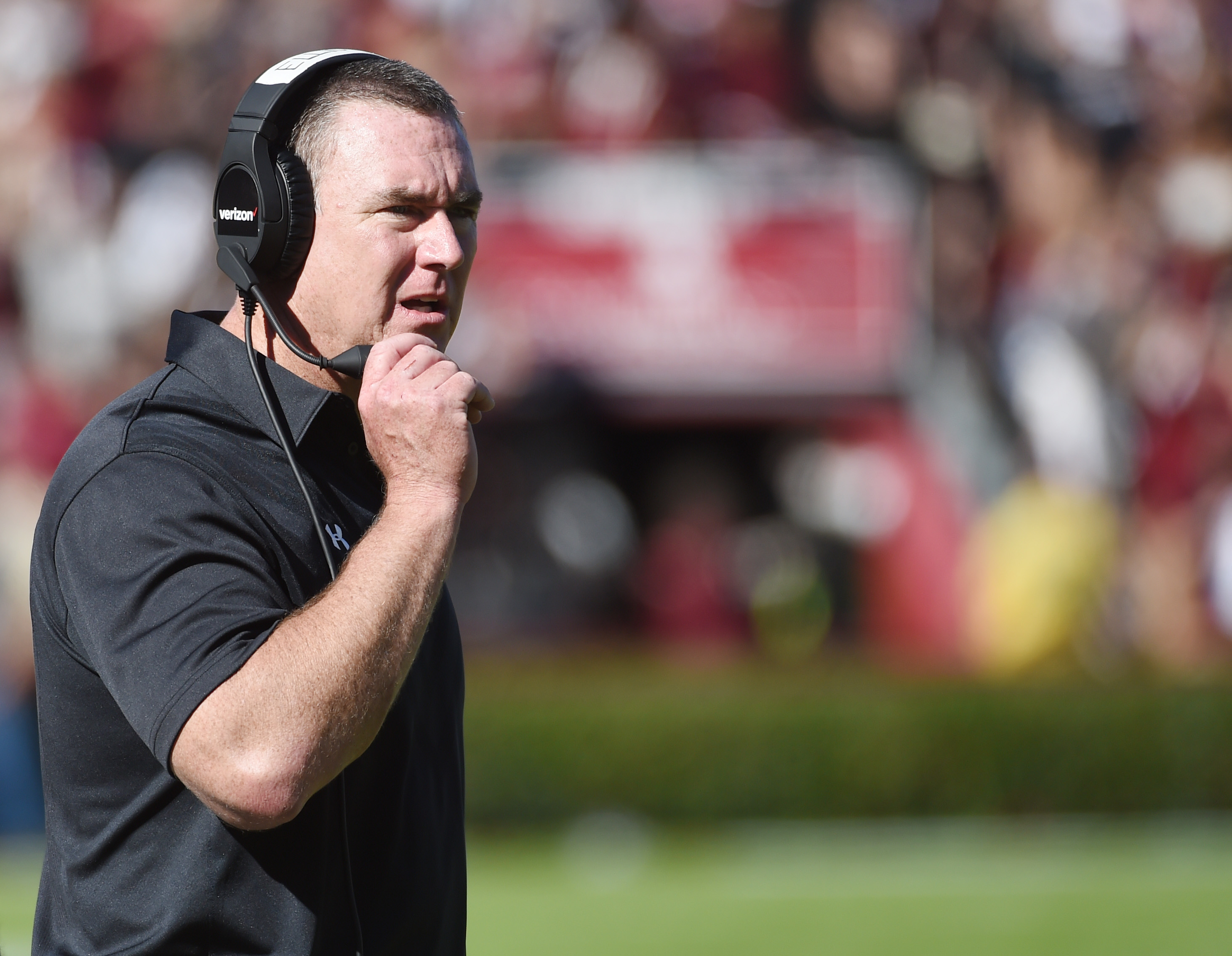 South Carolina interim head coach Shawn Elliott looks on from the sideline during the first half of an NCAA college football game against Florida, Saturday, Nov. 14, 2015, in Columbia, S.C. (AP Photo/Rainier Ehrhardt)
