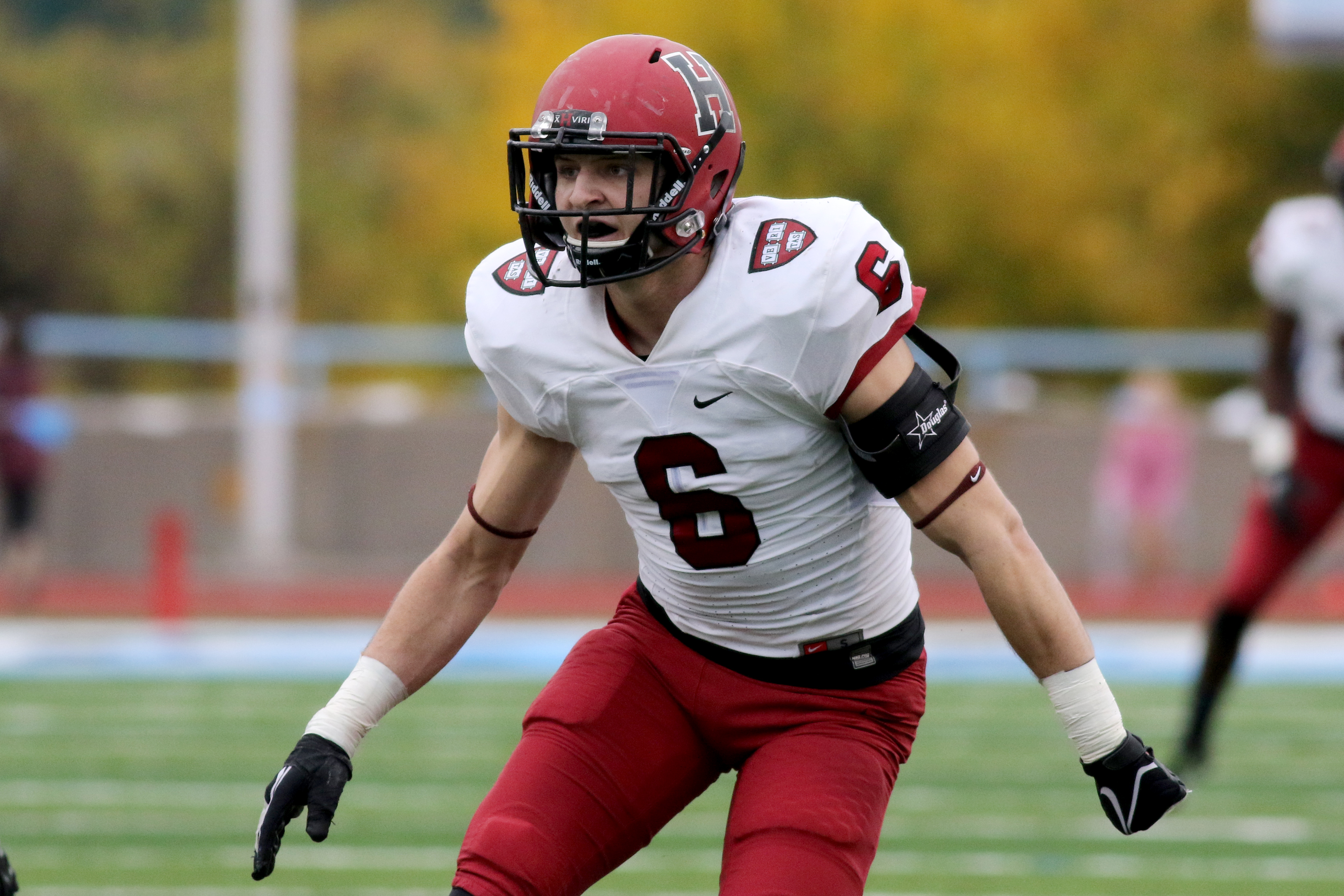 Harvard Crimson's Sean Ahern #6 in action against the Columbia Lions during a college football game on Saturday, November 7, 2015 in Manhattan, NY.  Harvard won 24-16. (AP Photo/Gregory Payan)