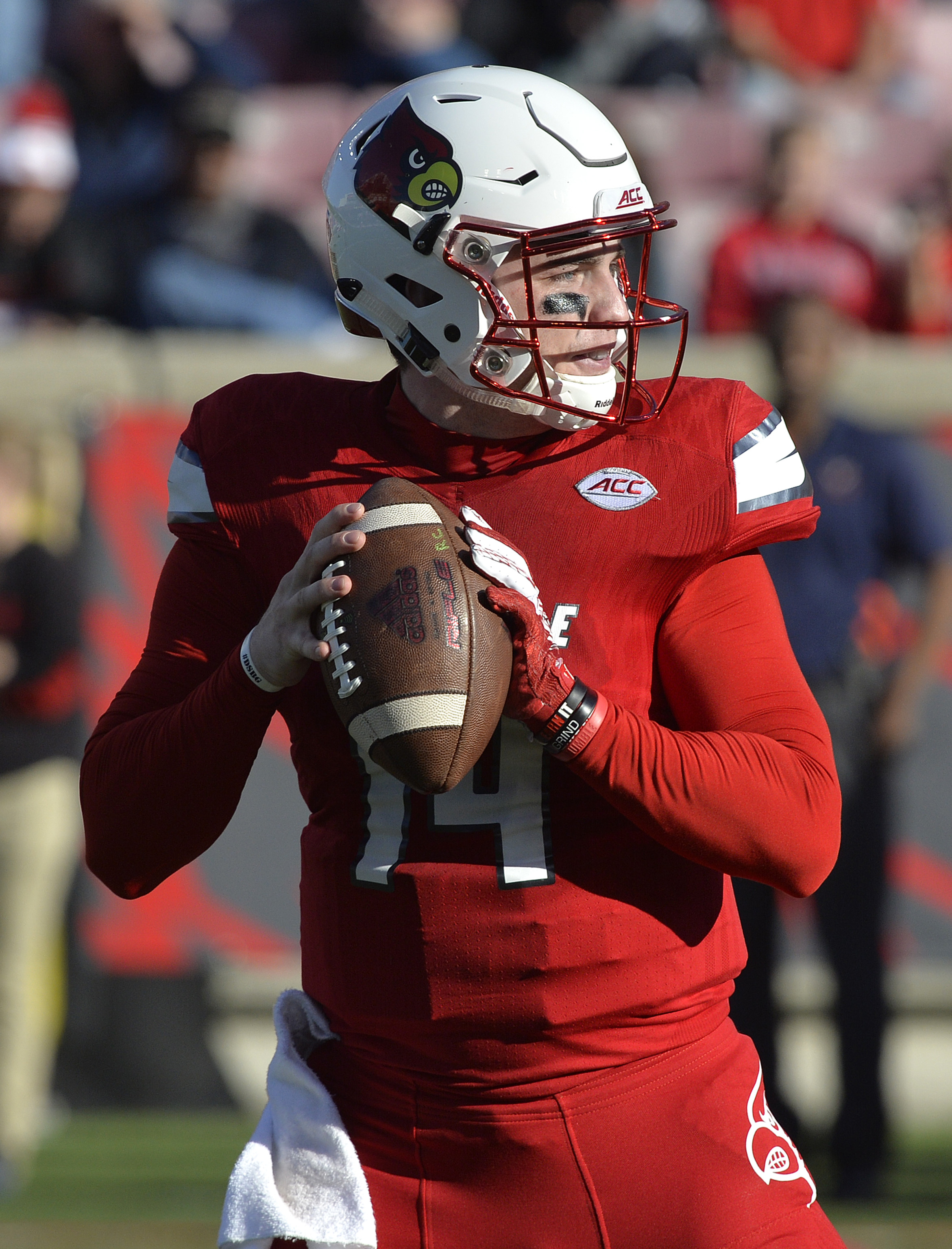 Louisville quarterback Kyle Bolin (14) looks for an open receiver during the second half of an NCAA college football game against Virginia, Saturday, Nov. 14, 2015, in Louisville, Ky. Louisville won 38-31. (AP Photo/Timothy D. Easley)