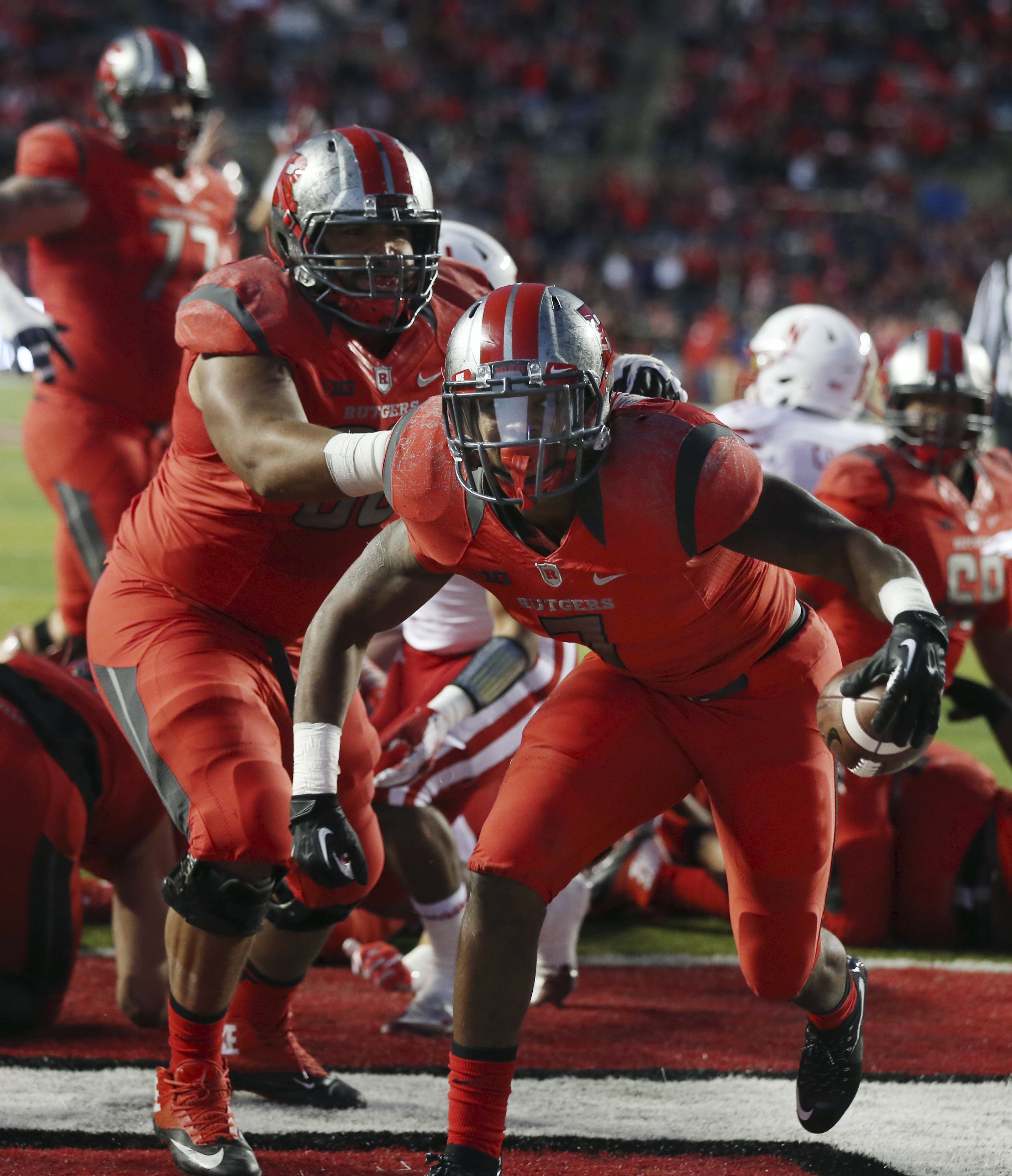 Rutgers running back Robert Martin (7) celebrates his touchdown during the first half of an NCAA college football game against Nebraska, Saturday, Nov. 14, 2015, in Piscataway, N.J. (AP Photo/Mel Evans)