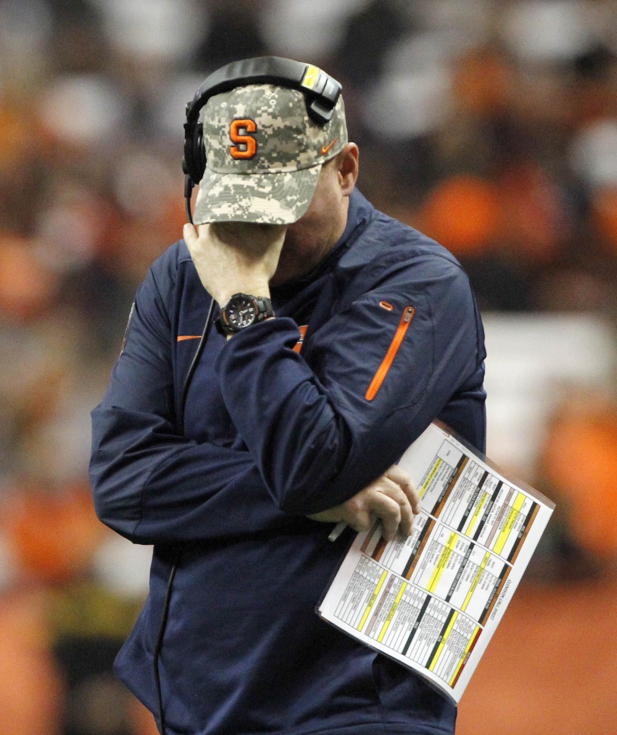 Syracuse head coach Scott Shafer reacts during a timeout in the fourth quarter of an NCAA college football game against Clemson in Syracuse, N.Y., Saturday, Nov. 14, 2015. Clemson won 37-27. (AP Photo/Nick Lisi)