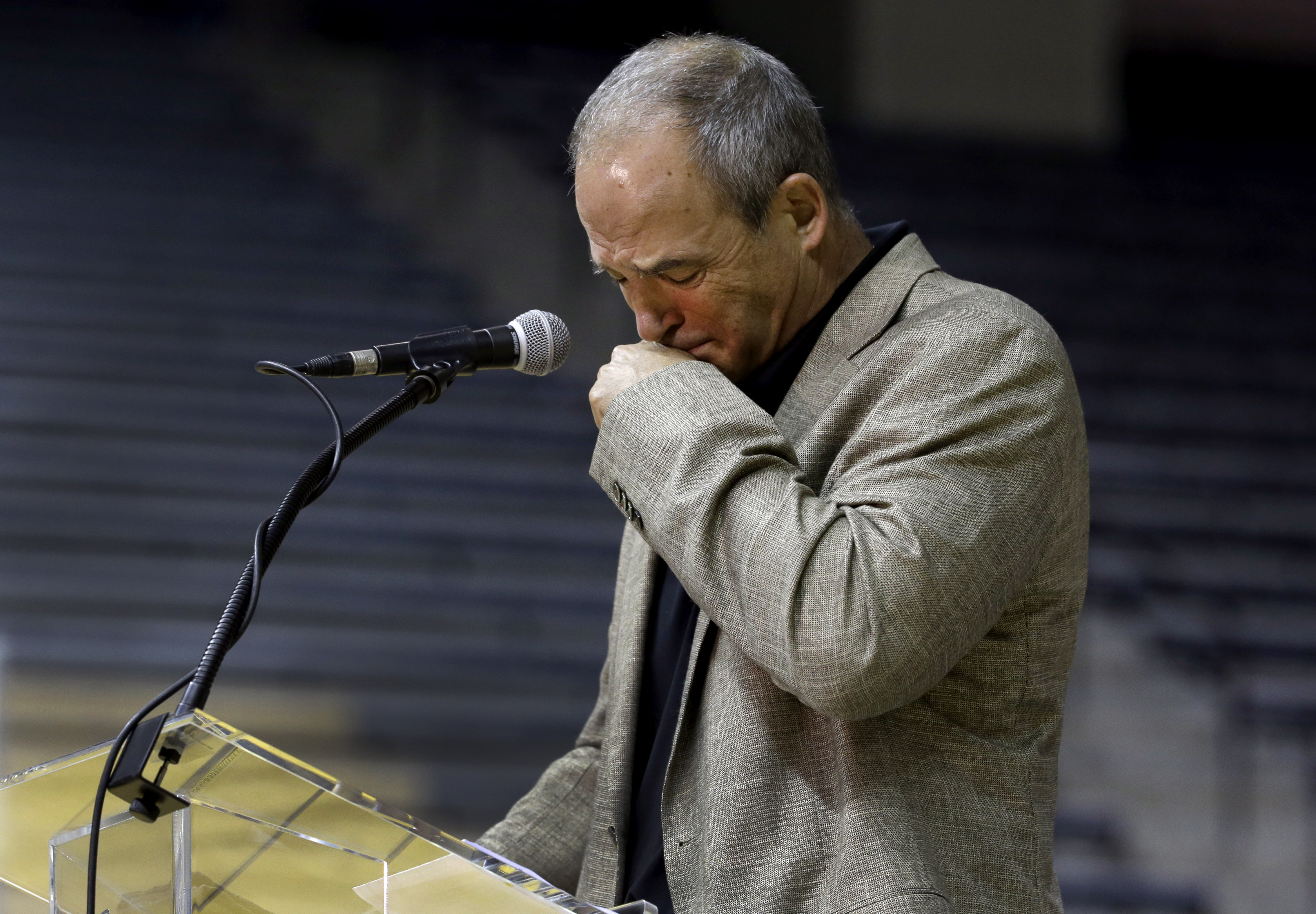 University of Missouri head football coach Gary Pinkel pauses while speaking about his players during a news conference Monday, Nov. 16, 2015, in Columbia, Mo. Pinkel has announced he will resign following the 2015 season after being diagnosed with lympho