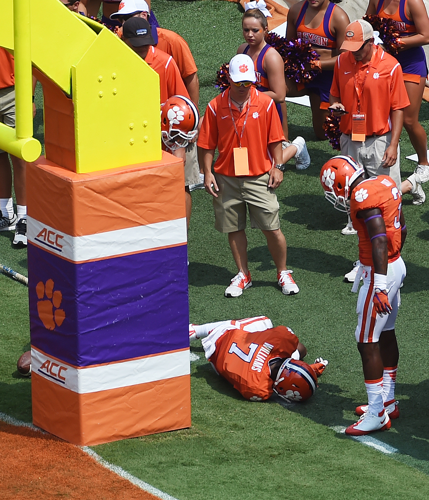 Clemson wide receiver Mike Williams lies on the field after he collided with the goal post while trying to make a catch during the first half of an NCAA college football game against Wofford on Saturday, Sept. 5, 2015, in Clemson, S.C.  Williams was injur
