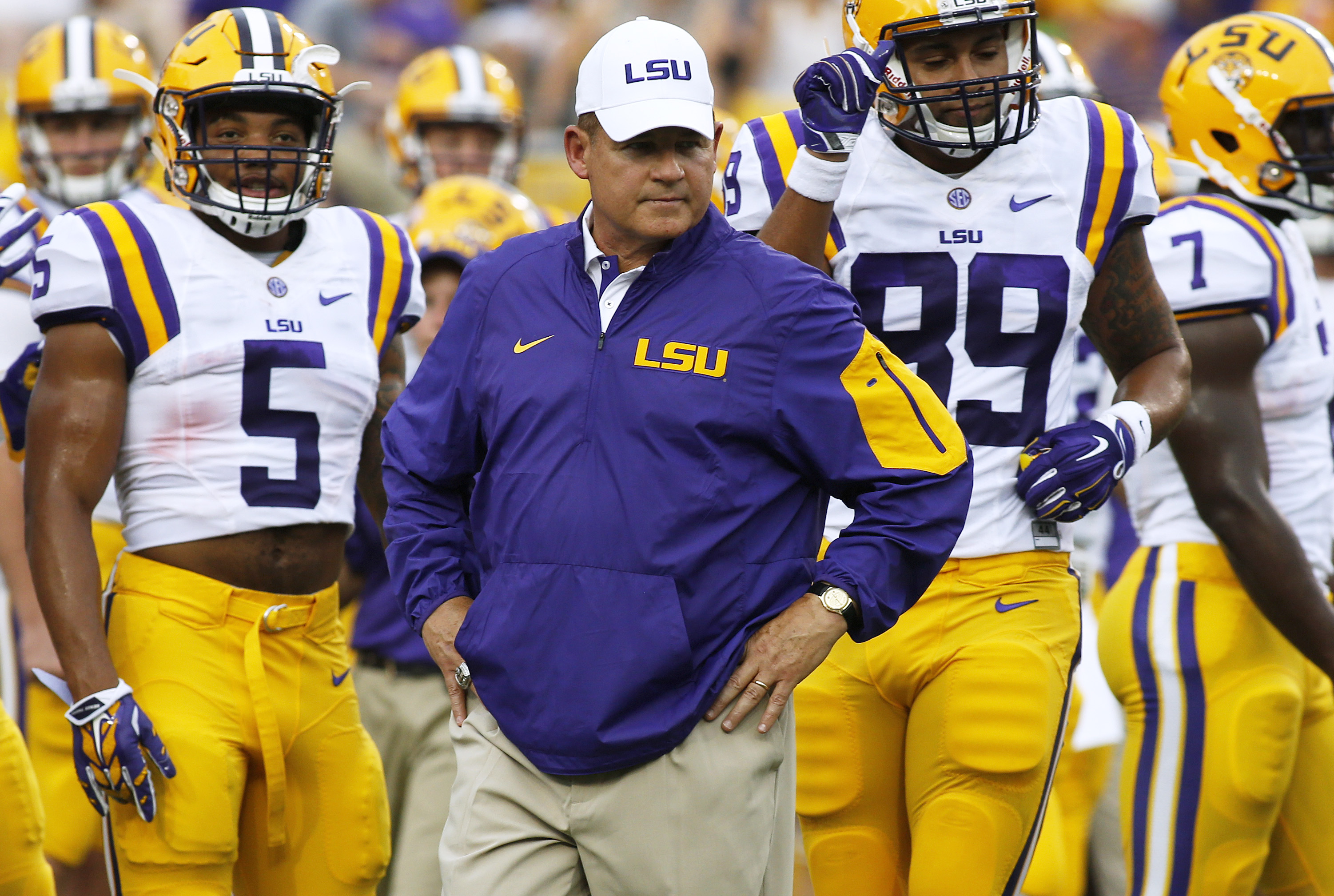 "FILE - In this Sept. 5, 2015, file photo, LSU head coach Les Miles reacts before an NCAA college football game against McNeese State in Baton Rouge, La. Miles acknowledged this week that his offensive line has hit a ""flat spot"" during the Tigers' two-game"