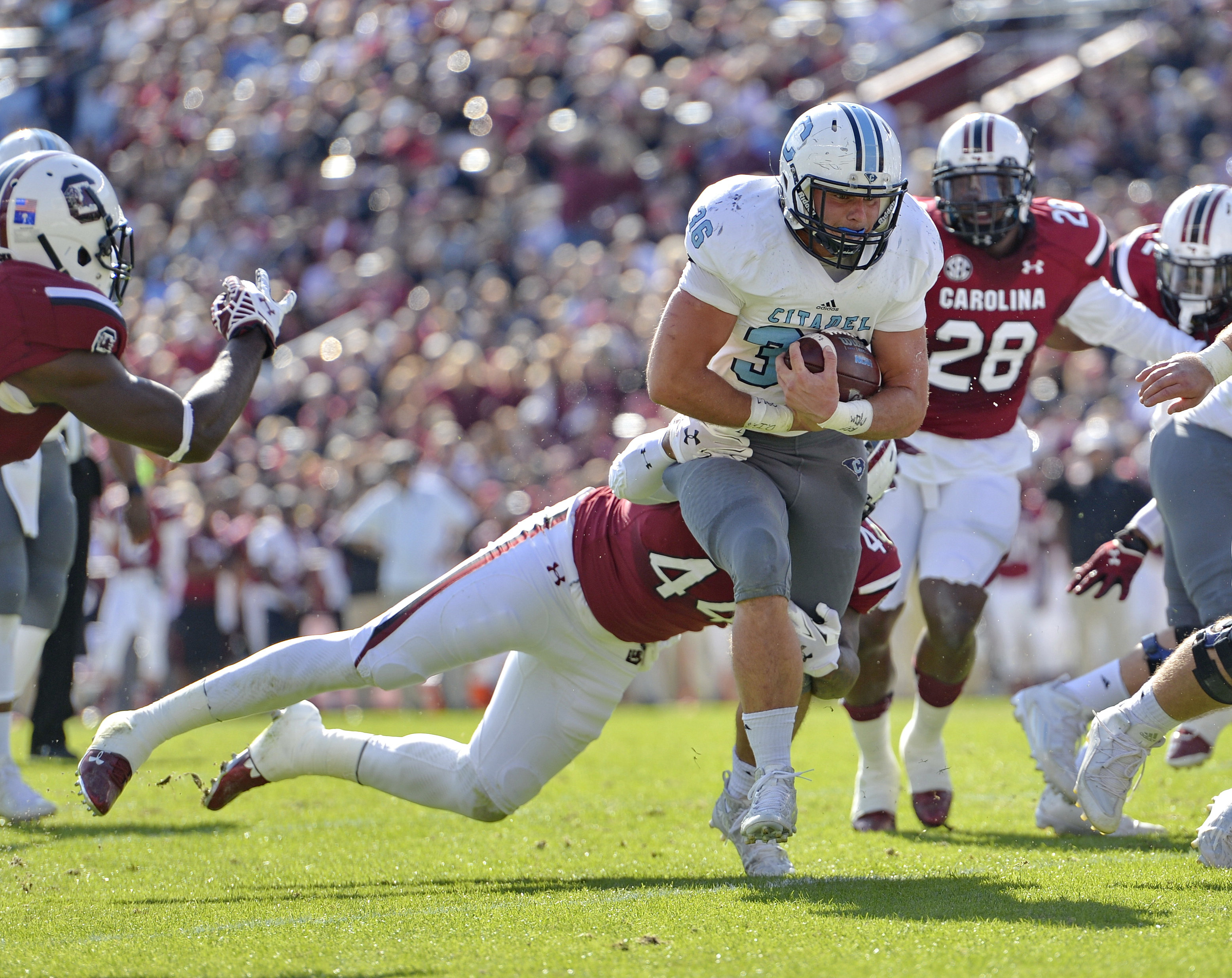 Citadel's Tyler Renew escapes a tackle attempt by South Carolina's Gerald Dixon to score a touchdown during the first half of an NCAA college football game Saturday, Nov. 21, 2015,  in Columbia,  S.C. (AP Photo/Richard Shiro)