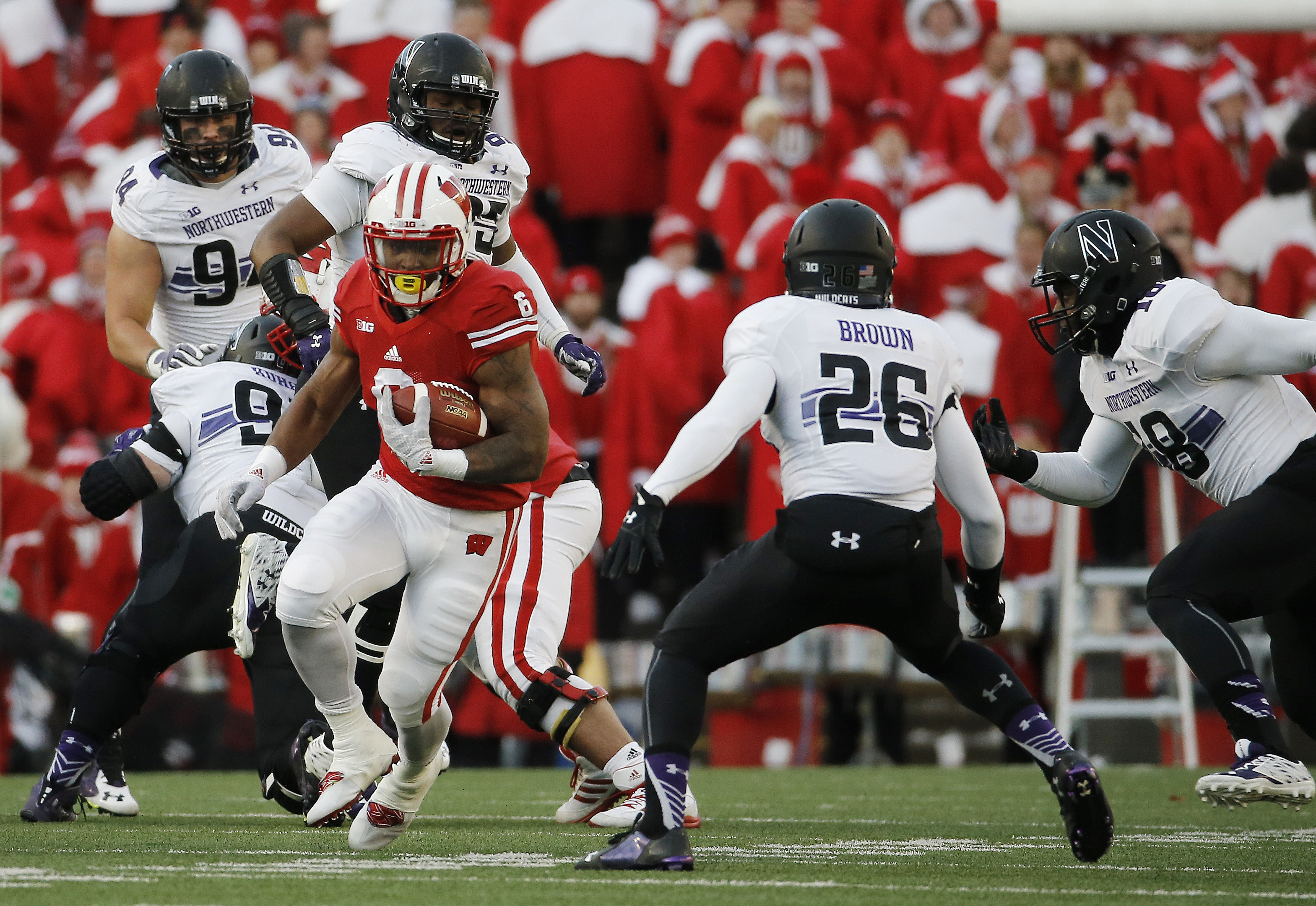 Wisconsin's Corey Clement rubs during the first half of an NCAA college football game against Northwestern Saturday, Nov. 21, 2015, in Madison, Wis. (AP Photo/Morry Gash)