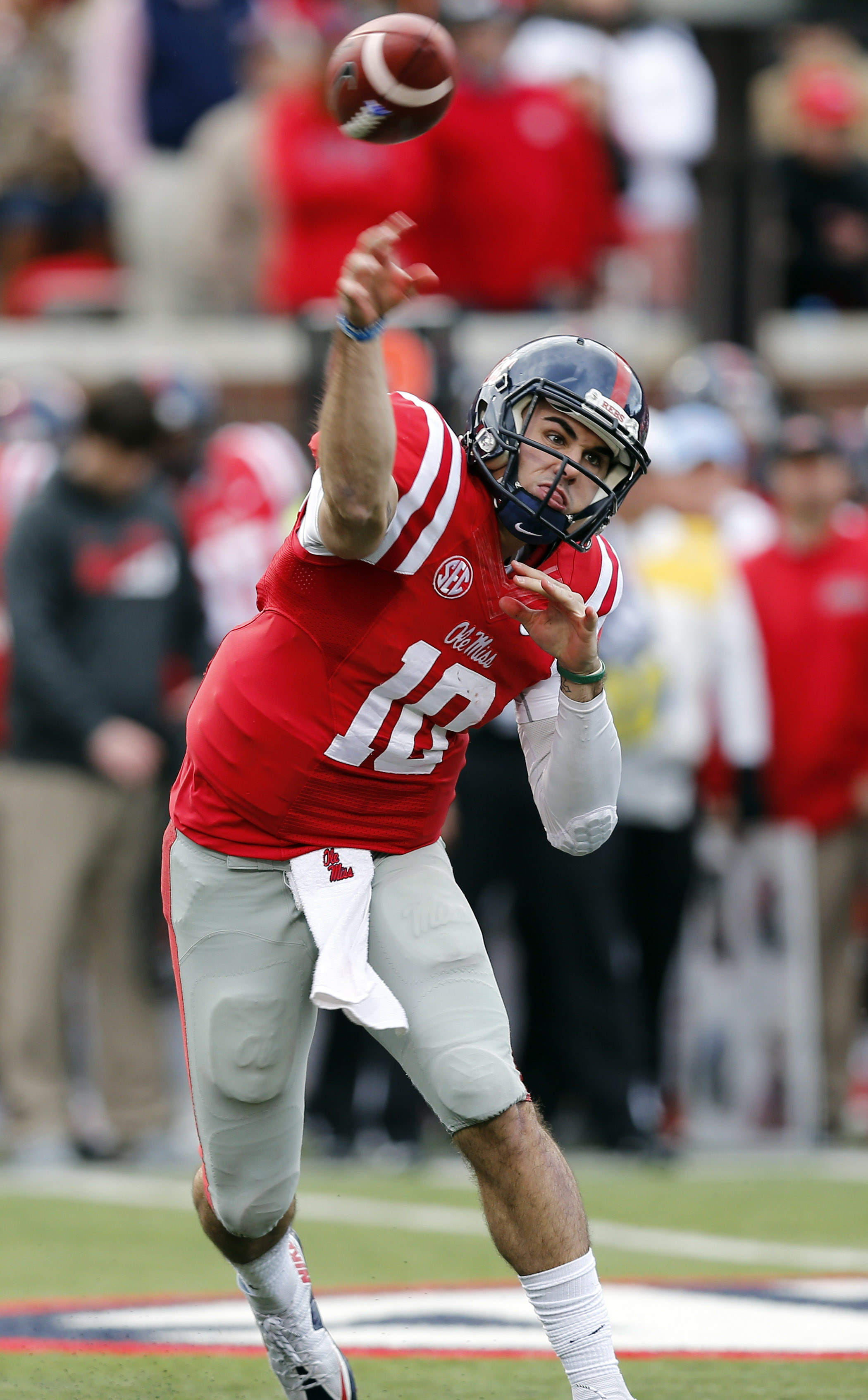 Mississippi quarterback Chad Kelly (10) passes against LSU in the first half of an NCAA college football game in Oxford, Miss., Saturday, Nov. 21, 2015. (AP Photo/Rogelio V. Solis)