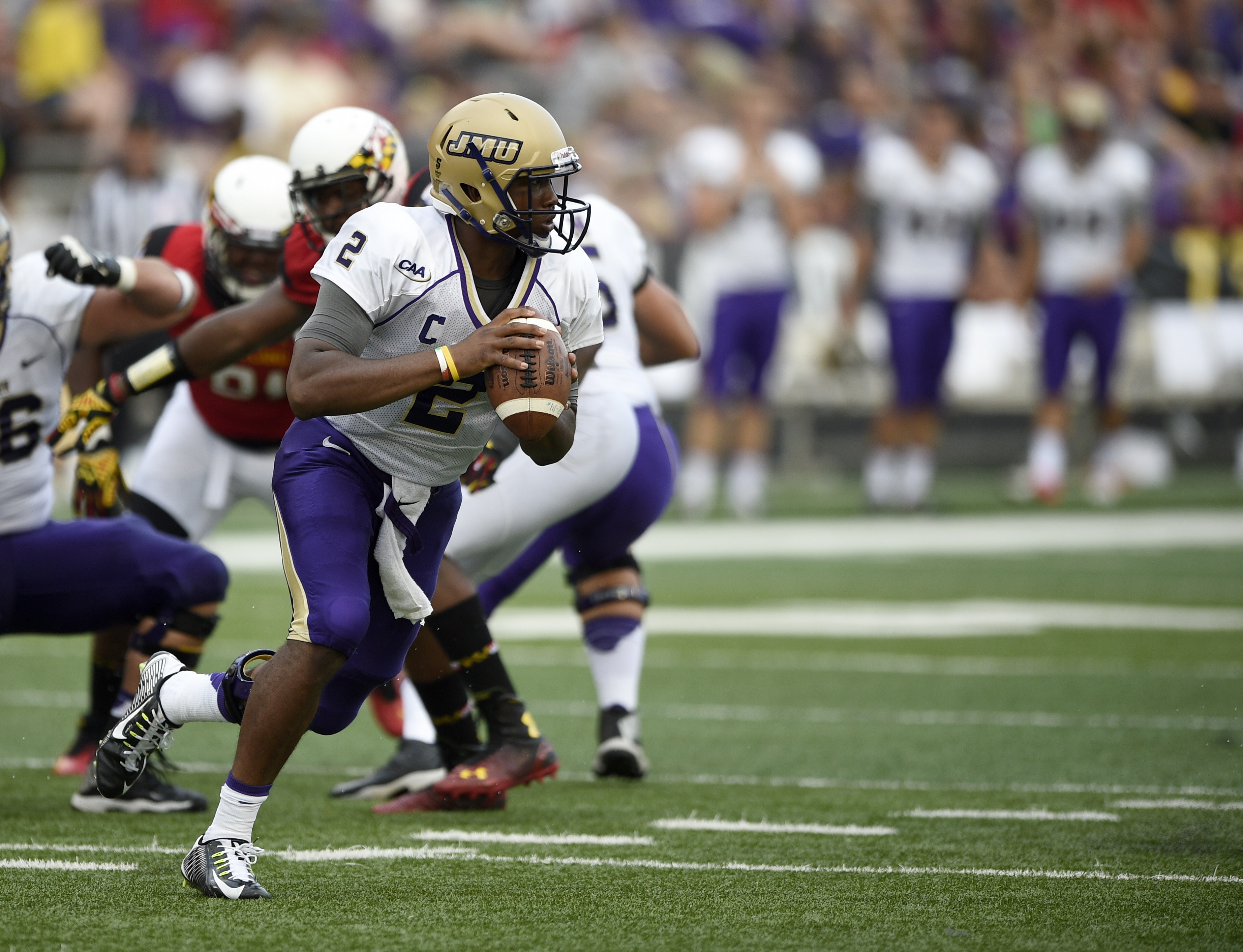 James Madison quarterback Vad Lee (2) looks to pass during the second half of an NCAA football game against Maryland, Saturday, Aug. 30, 2014, in College Park, Md. Maryland won 52-7. (AP Photo/Nick Wass)