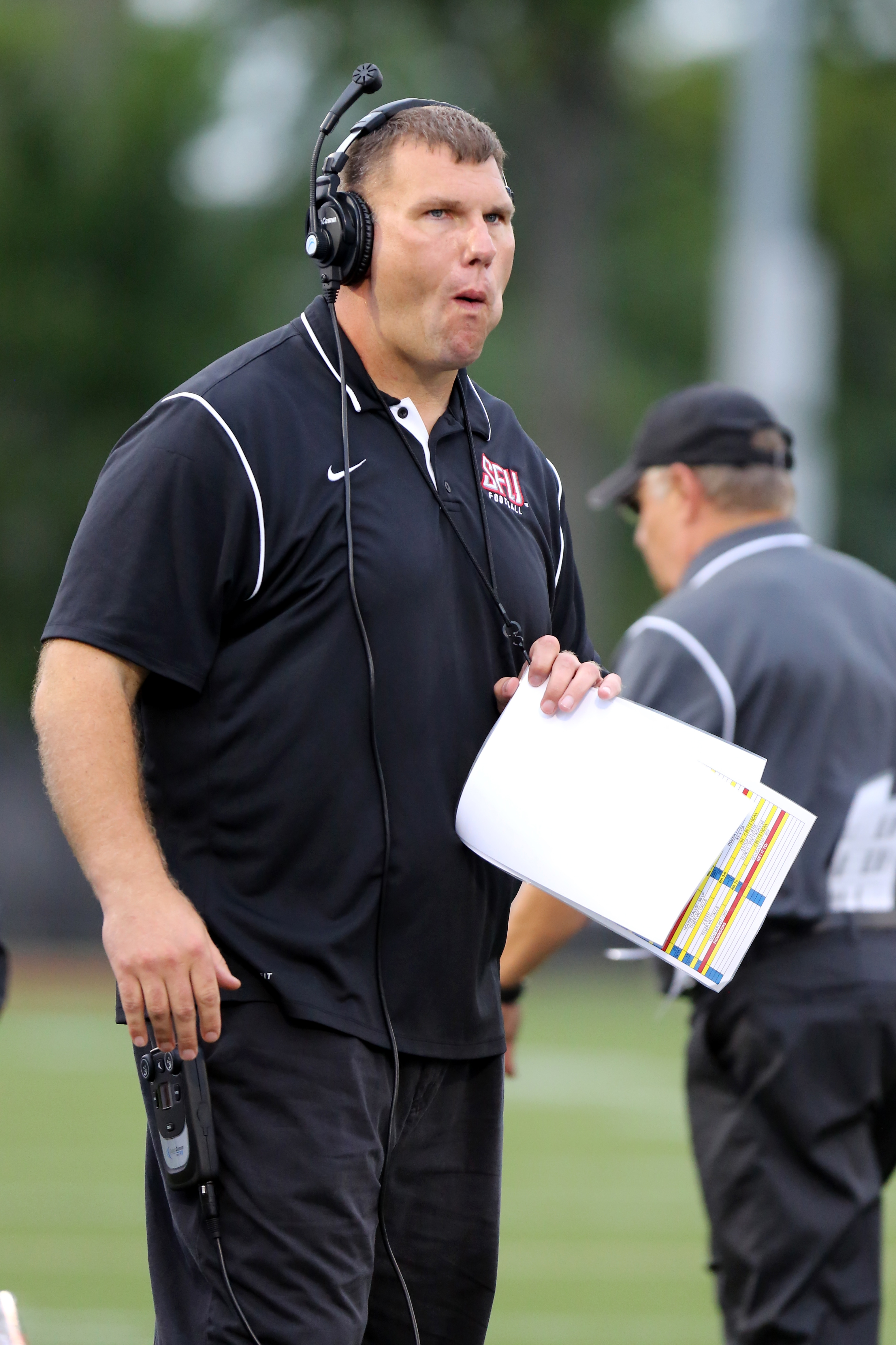 St, Francis (PA) Red Flash head coach Chris Villarrial on the sidelines against the Fordham Rams during a college football game on Saturday, August 30, 2014 in the Bronx, NY.  Fordham won the game 53-22.  (AP Photo/Gregory Payan)