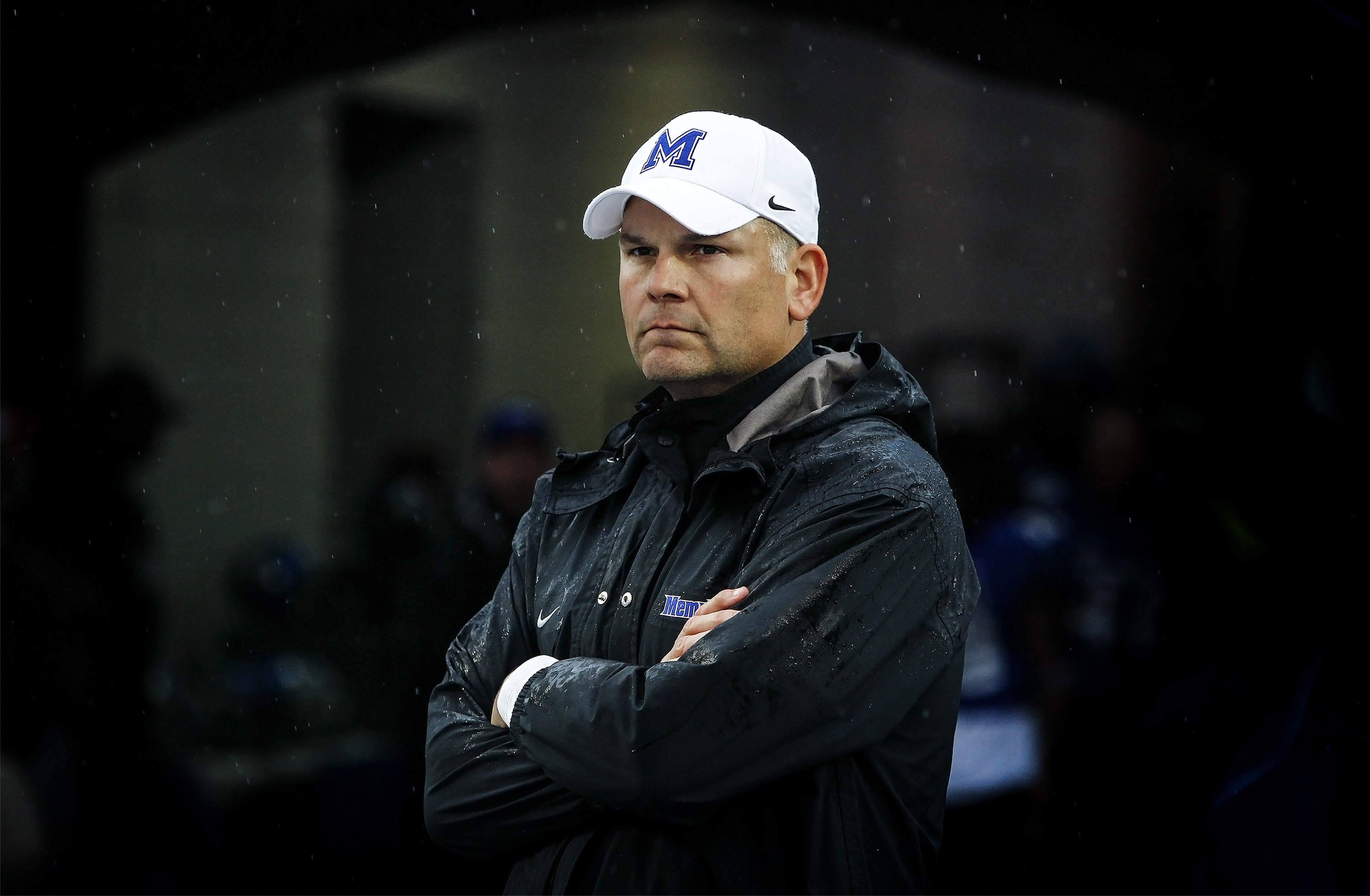 Memphis head coach Justin Fuente looks on before an NCAA college football game against SMU at the Liberty Bowl Memorial Stadium Saturday, Nov. 28, 2015, in Memphis, Tenn. Memphis won 63-0. (Mark Weber/The Commercial Appeal via AP) MANDATORY CREDIT