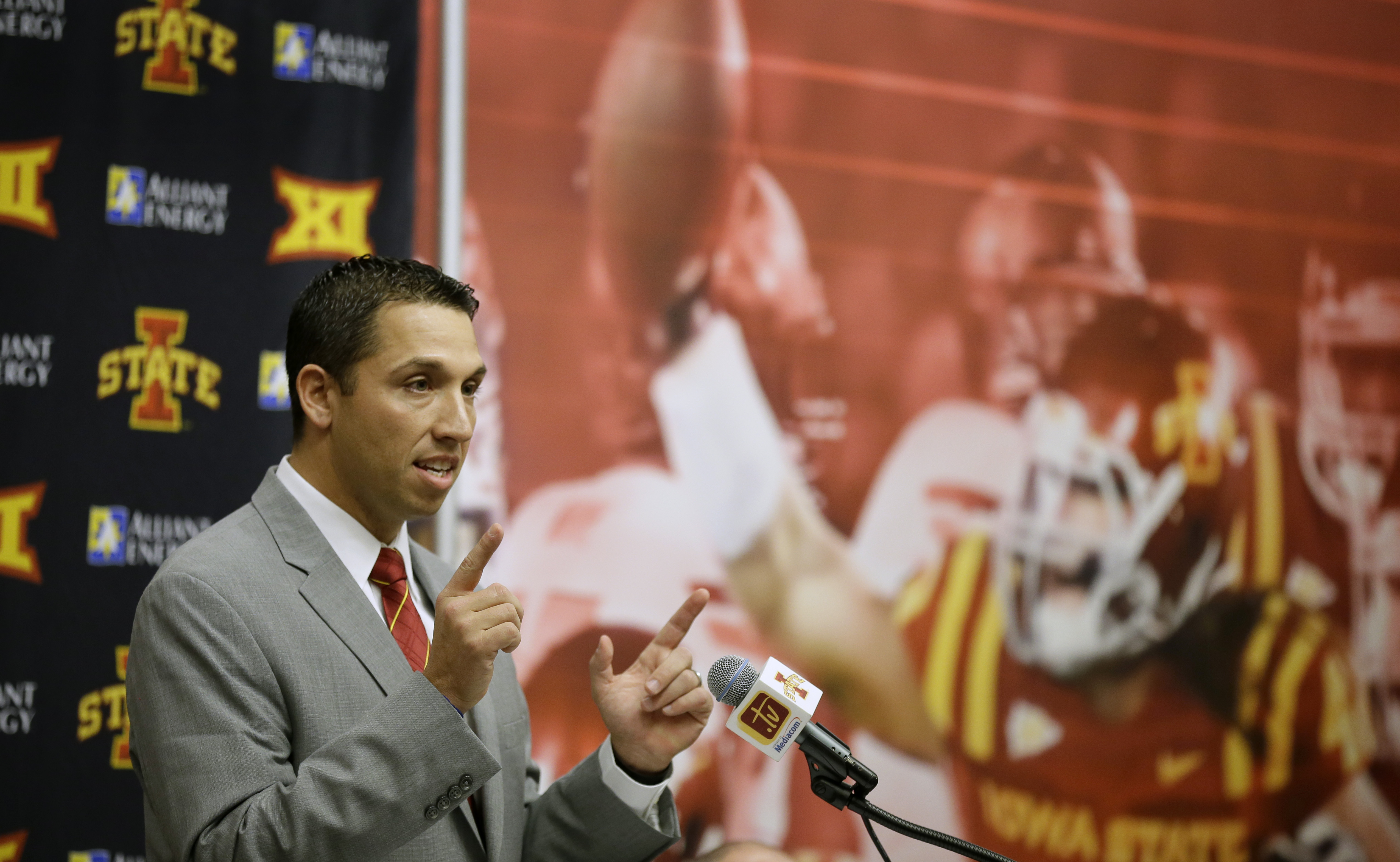 New Iowa State head football coach Matt Campbell speaks during a news conference, Monday, Nov. 30, 2015, in Ames, Iowa. Campbell, who replaces the recently fired Paul Rhoads, was the coach at Toledo this past season. (AP Photo/Charlie Neibergall)