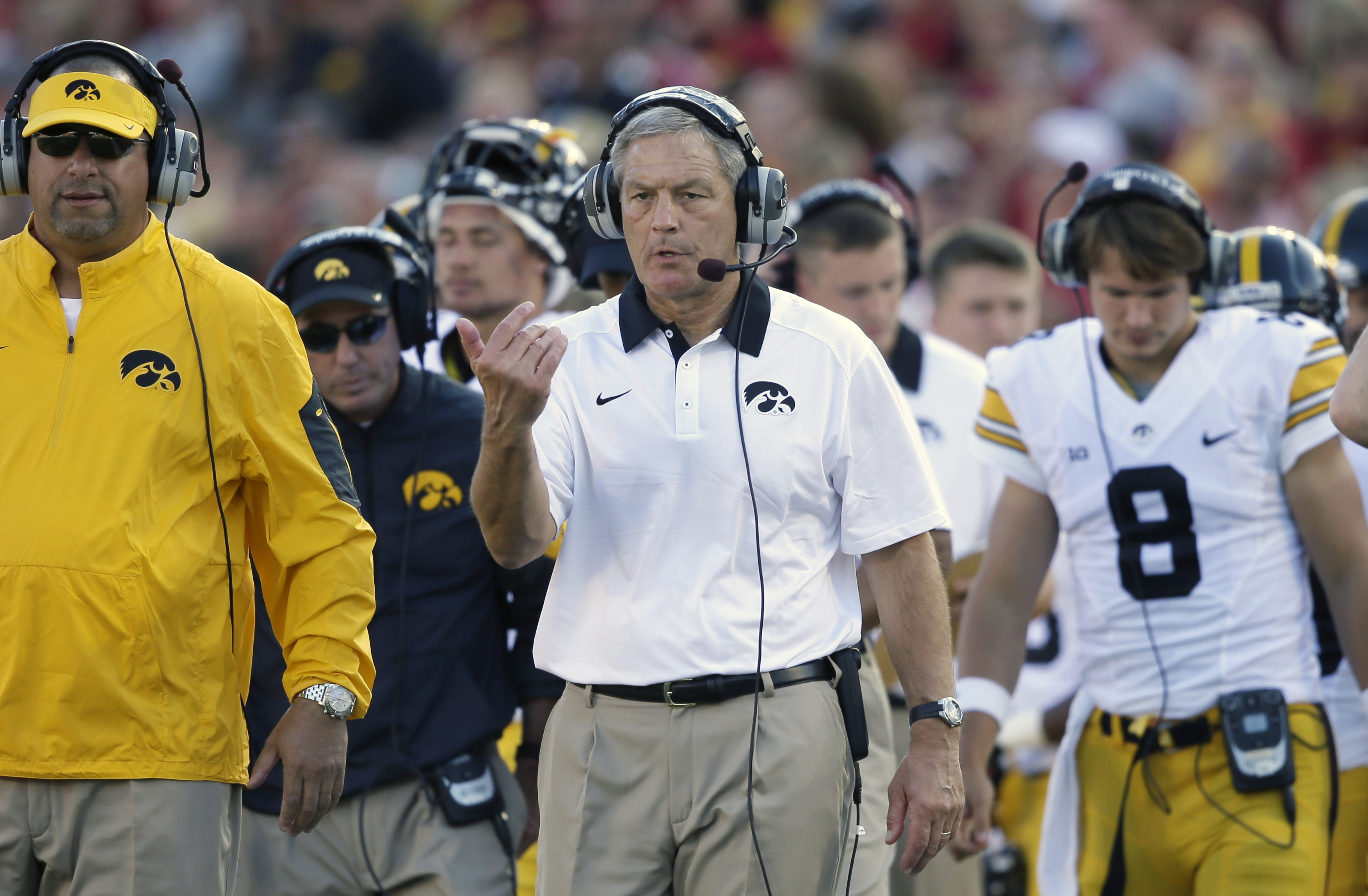 FILE - In this Sept. 12, 2015, file photo, Iowa head coach Kirk Ferentz directs his team during the first half of an NCAA college football game against Iowa State, in Ames, Iowa. Ferentz knew before this season that only a major turnaround would appease a