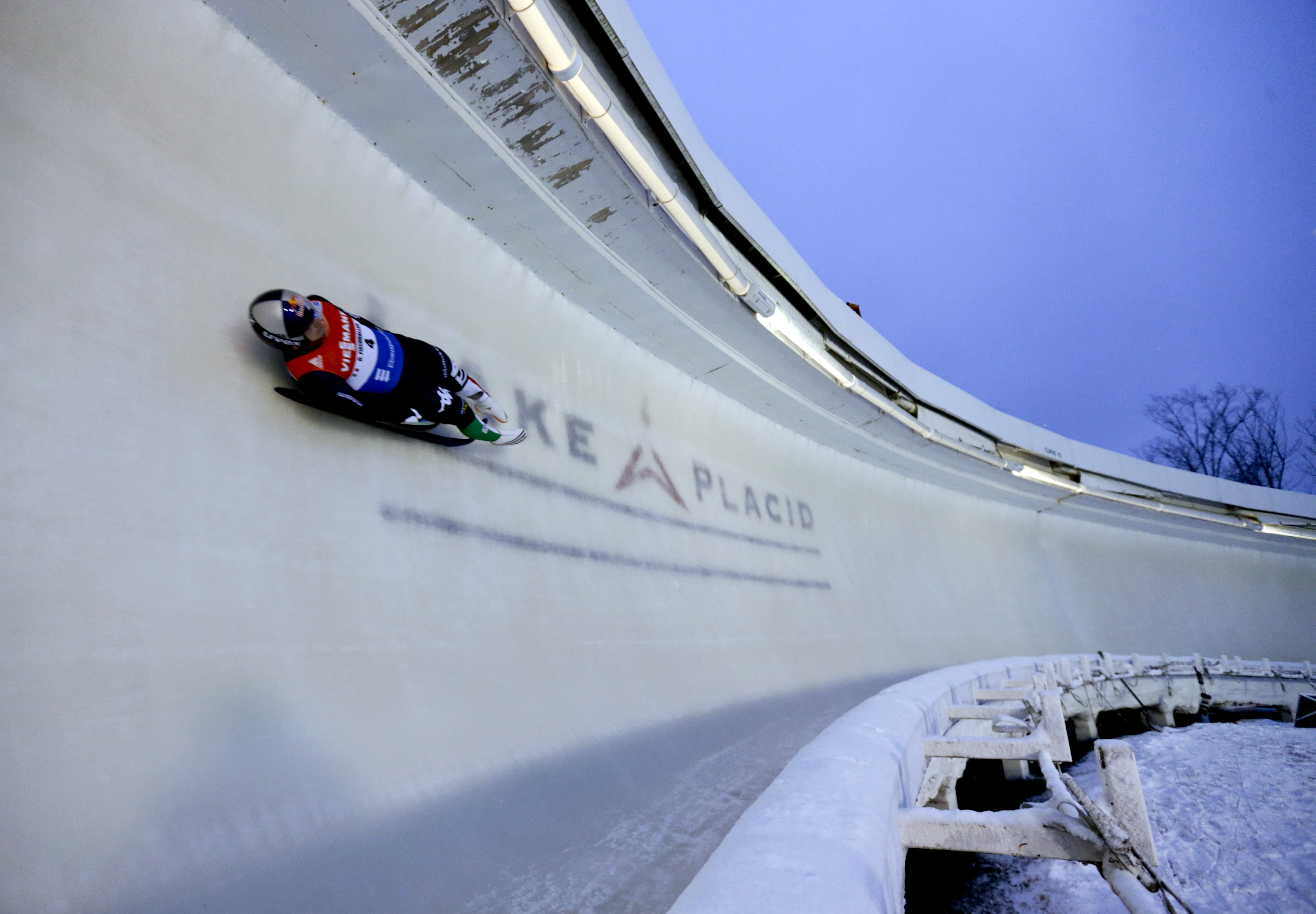 Dominik Fischnaller, of Italy, takes a training run for the men's luge World Cup event on Thursday, Dec. 3, 2015, in Lake Placid, N.Y. Competition begins on Friday. (AP Photo/Mike Groll)