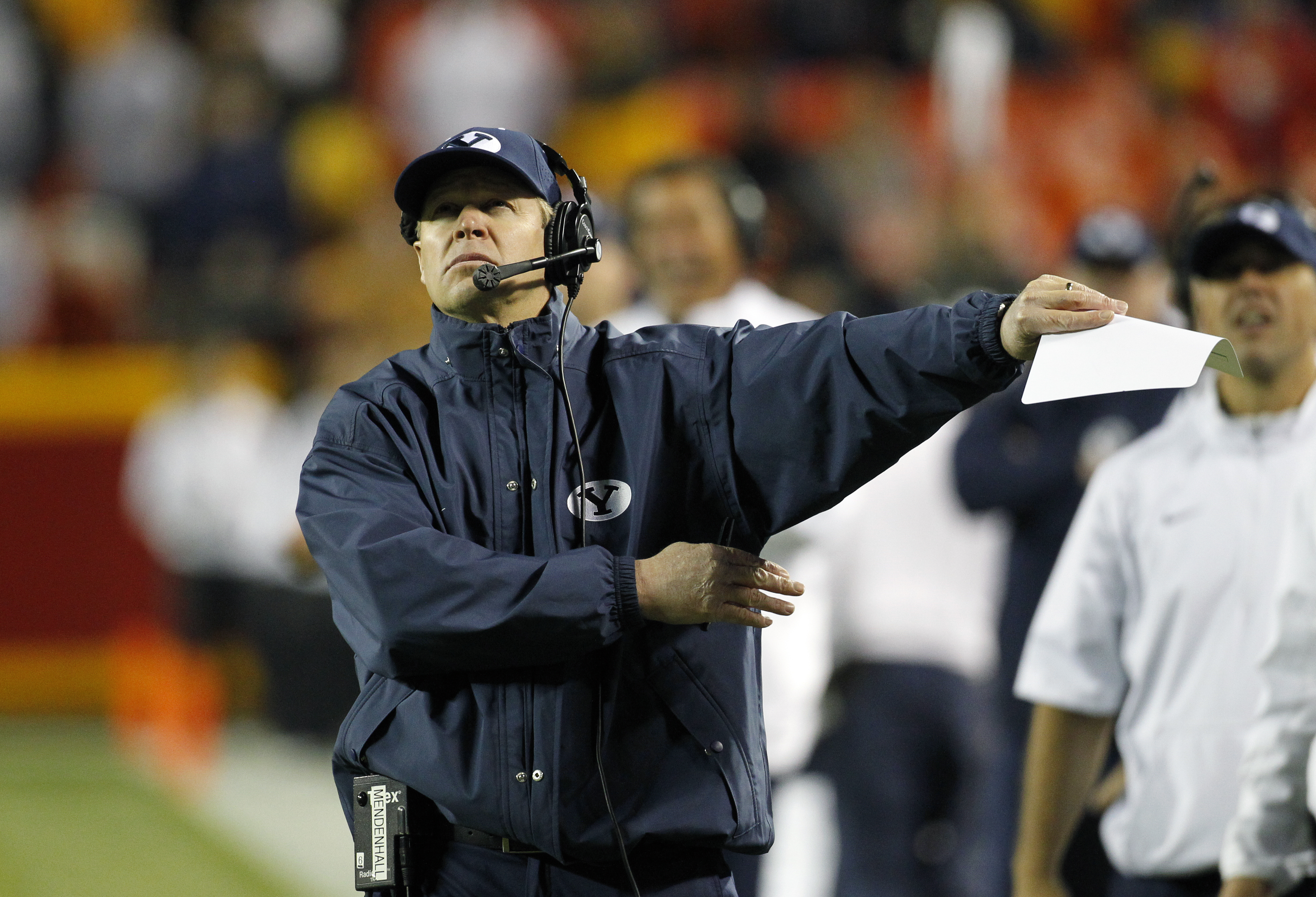 BYU head coach Bronco Mendenhall reacts to a replay in the second half of a college football game against Missouri at Arrowhead Stadium, Saturday, Nov. 14, 2015, in Kansas City, Mo. Missouri beat BYU 20-16. (AP Photo/Colin E. Braley)