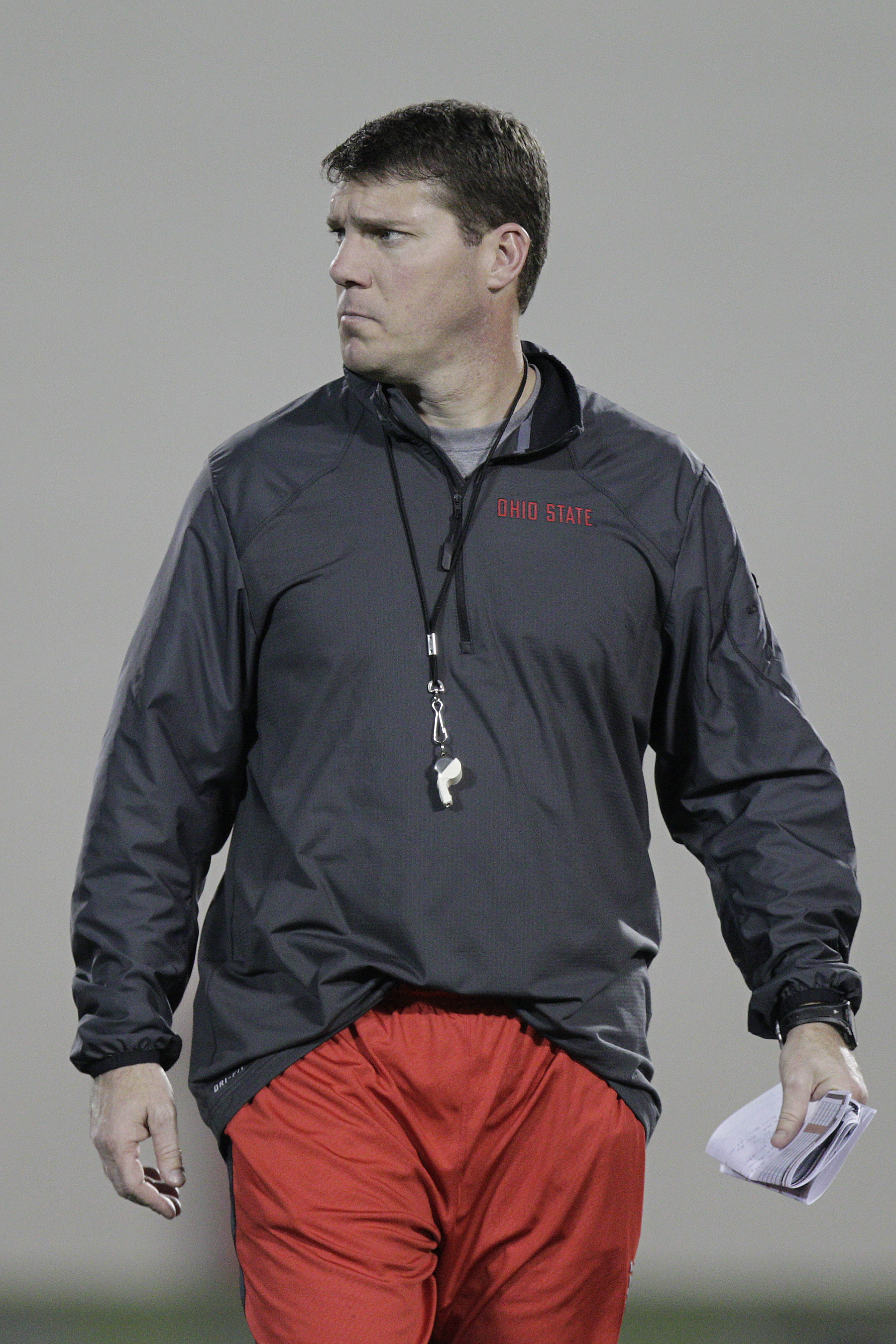 Ohio State co-defensive coordinator and safeties coach Chris Ash instructs players during their Spring NCAA college football practice Tuesday, March 4, 2014, in Columbus, Ohio. (AP Photo/Jay LaPrete)