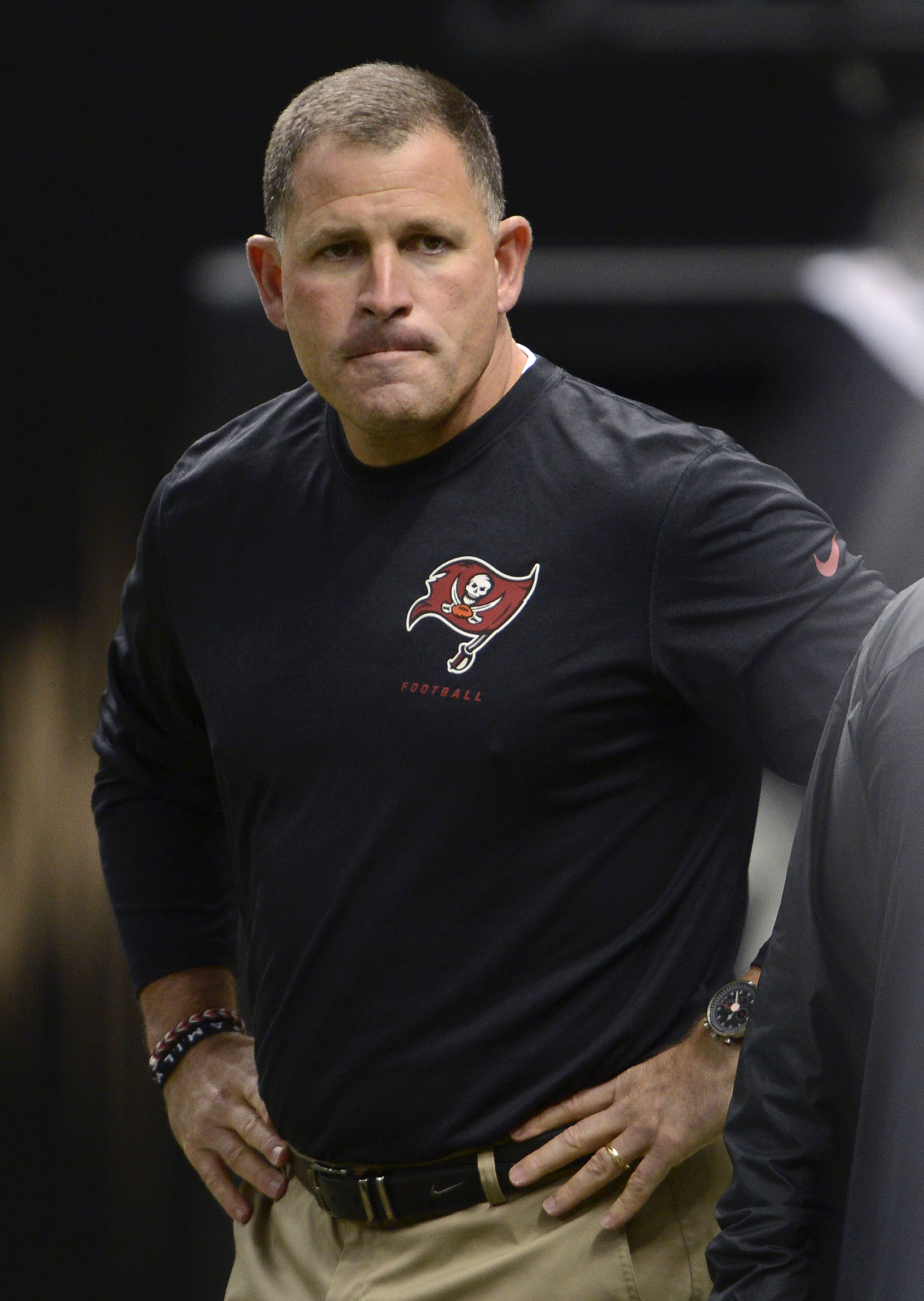 Tampa Bay Buccaneers head coach Greg Schiano is seen on the field before an NFL football game against the New Orleans Saints in New Orleans, Sunday, Dec. 29, 2013. (AP Photo/Bill Feig)