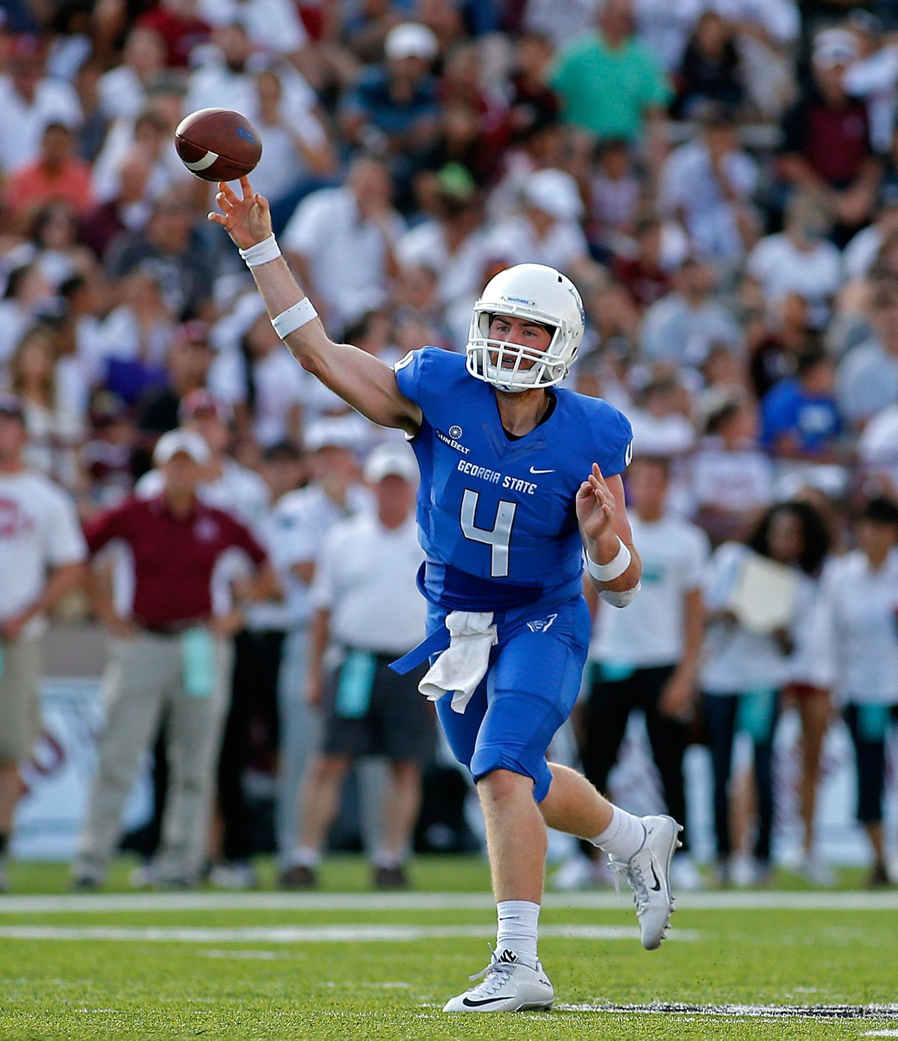 FILE - In this Sept. 12, 2015, file photo, Georgia State quarterback Nick Arbuckle throws during the first half of an NCAA college football game against New Mexico State in Las Cruces, N.M. Arbuckle surely had family and friends who wondered if he was thi