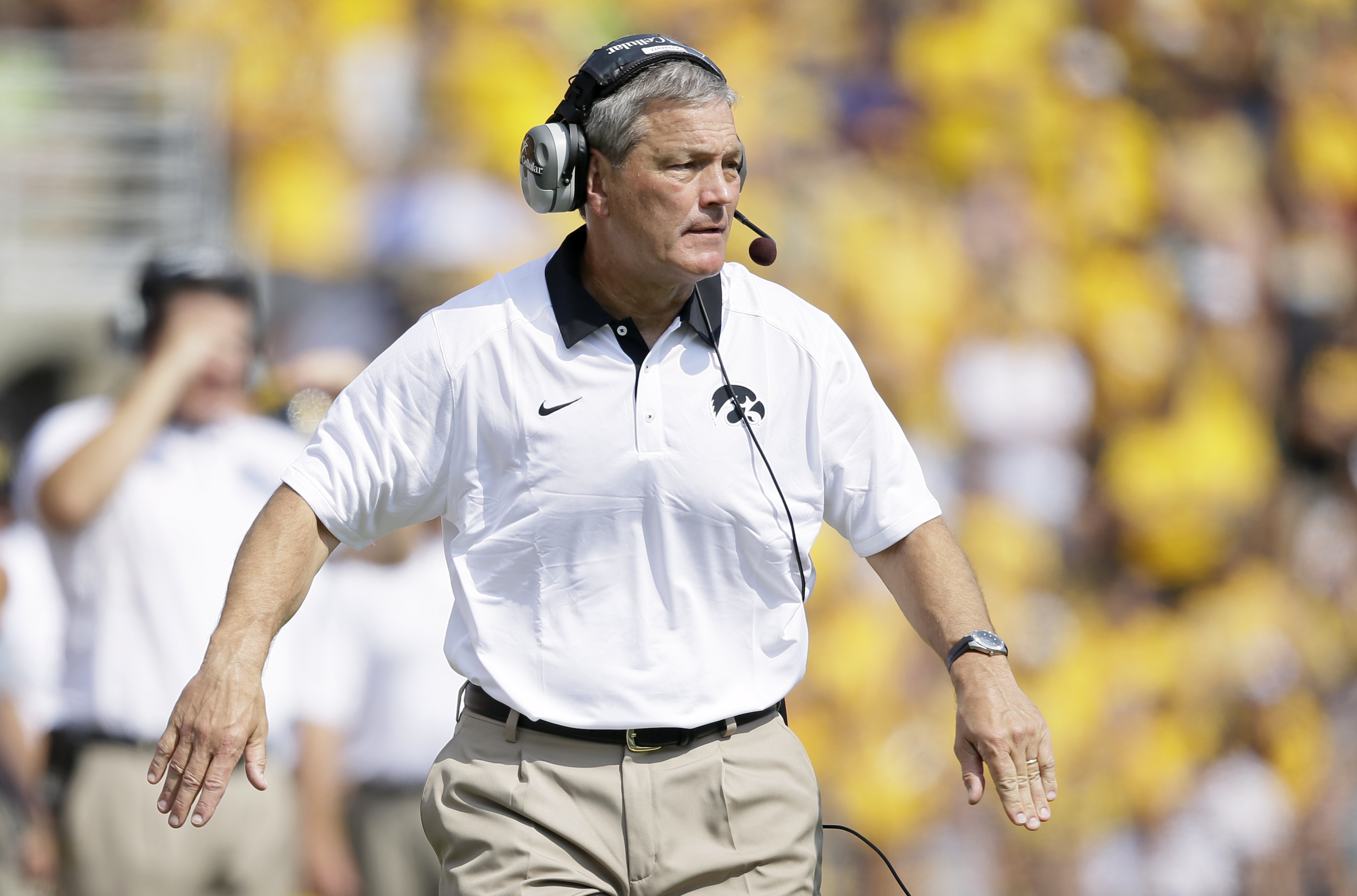 FILE - In this Sept. 5, 2015, file photo, Iowa head coach Kirk Ferentz reacts on the sidelines during the first half of an NCAA college football game against Illinois State, in Iowa City, Iowa. Ferentz, who'll finish his 17th season as Iowa's head coach i