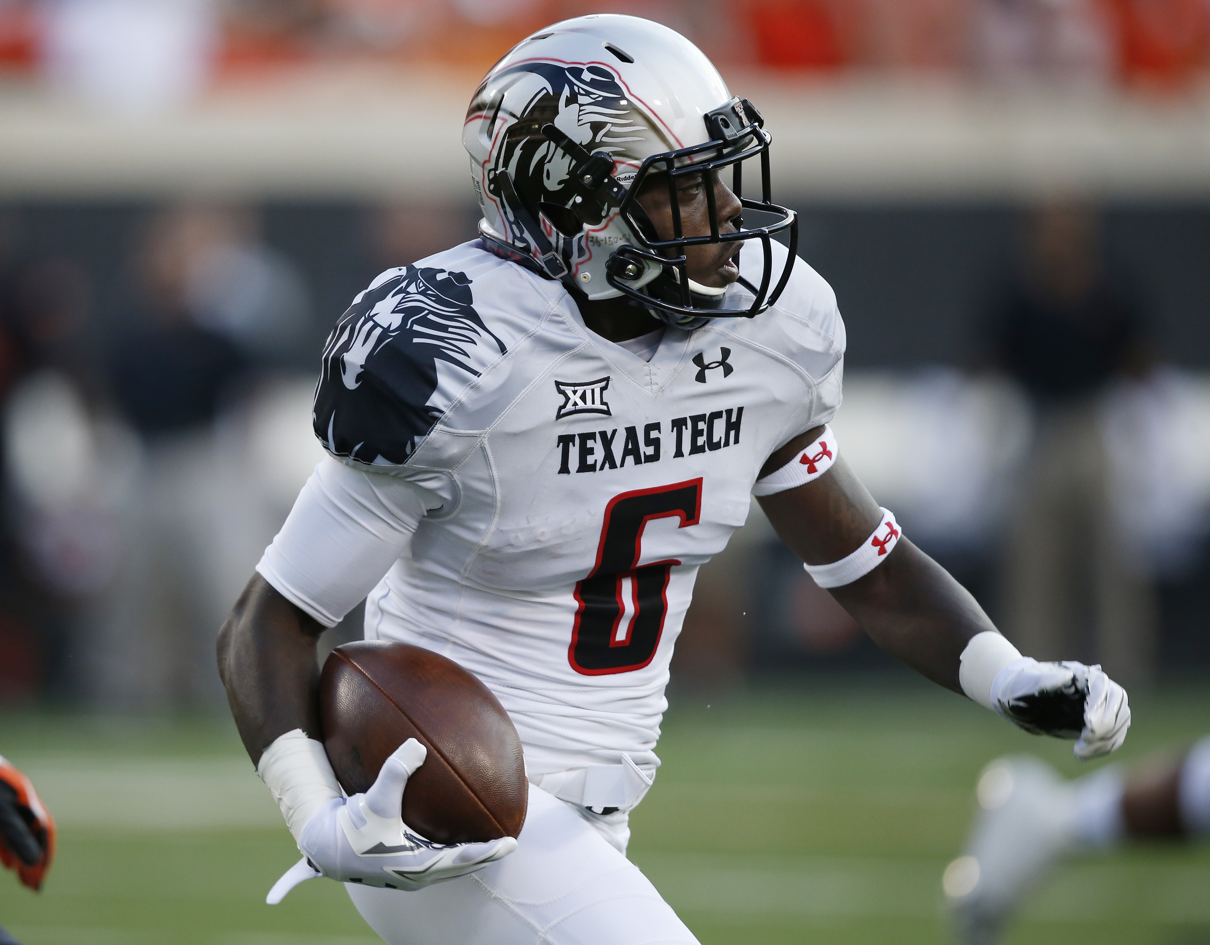Texas Tech wide receiver Devin Lauderdale (6) is pictured during an NCAA college football game between Texas Tech and Oklahoma State in Stillwater, Okla., Thursday, Sept. 25, 2014. (AP Photo/Sue Ogrocki)