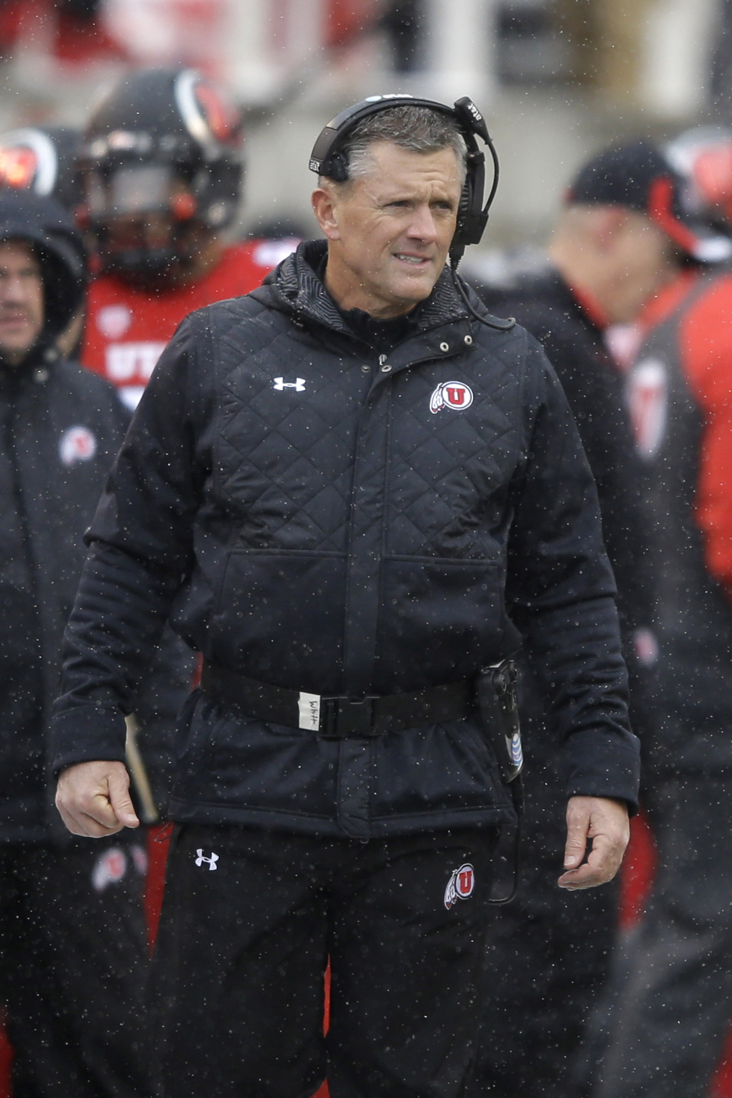 FILE - In this Nov. 28, 2015, file photo, Utah head coach Kyle Whittingham looks on in the second half during an NCAA college football game against Colorado, in Salt Lake City. Utah plays BYU in the Las Vegas Bowl on Saturday. (AP Photo/Rick Bowmer, File)