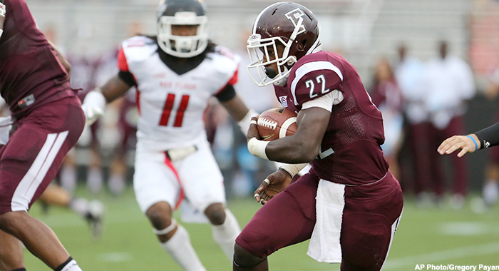 Fordham Rams Chase Edmonds #22  in action against the St, Francis (PA) Red Flash during a college football game on Saturday, August 30, 2014 in the Bronx, NY.  (AP Photo/Gregory Payan)