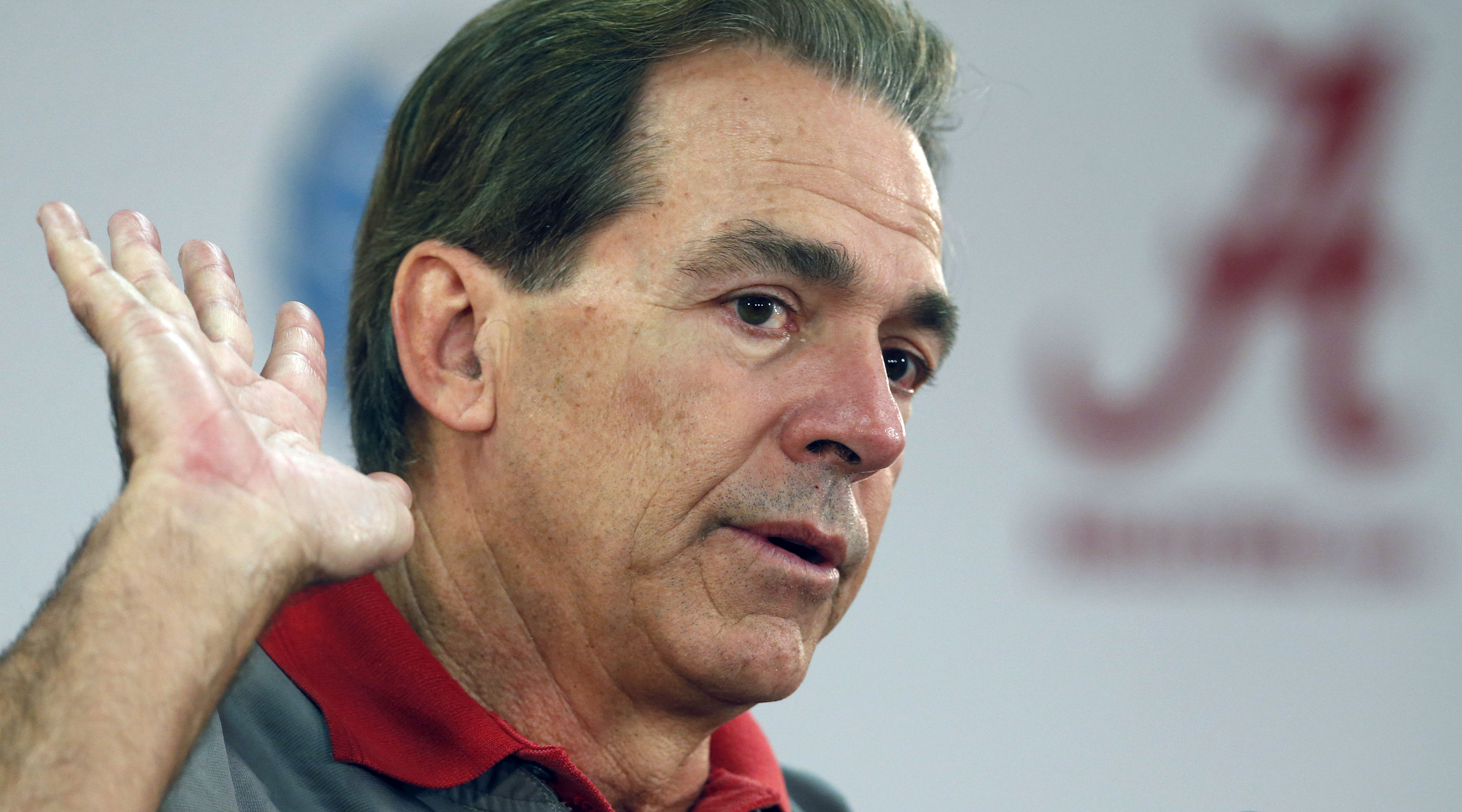Alabama head coach Nick Saban speaks to the media in preparation for the Cotton Bowl NCAA college football game, Monday, Dec. 21, 2015, in Tuscaloosa, Ala. (AP Photo/Butch Dill)