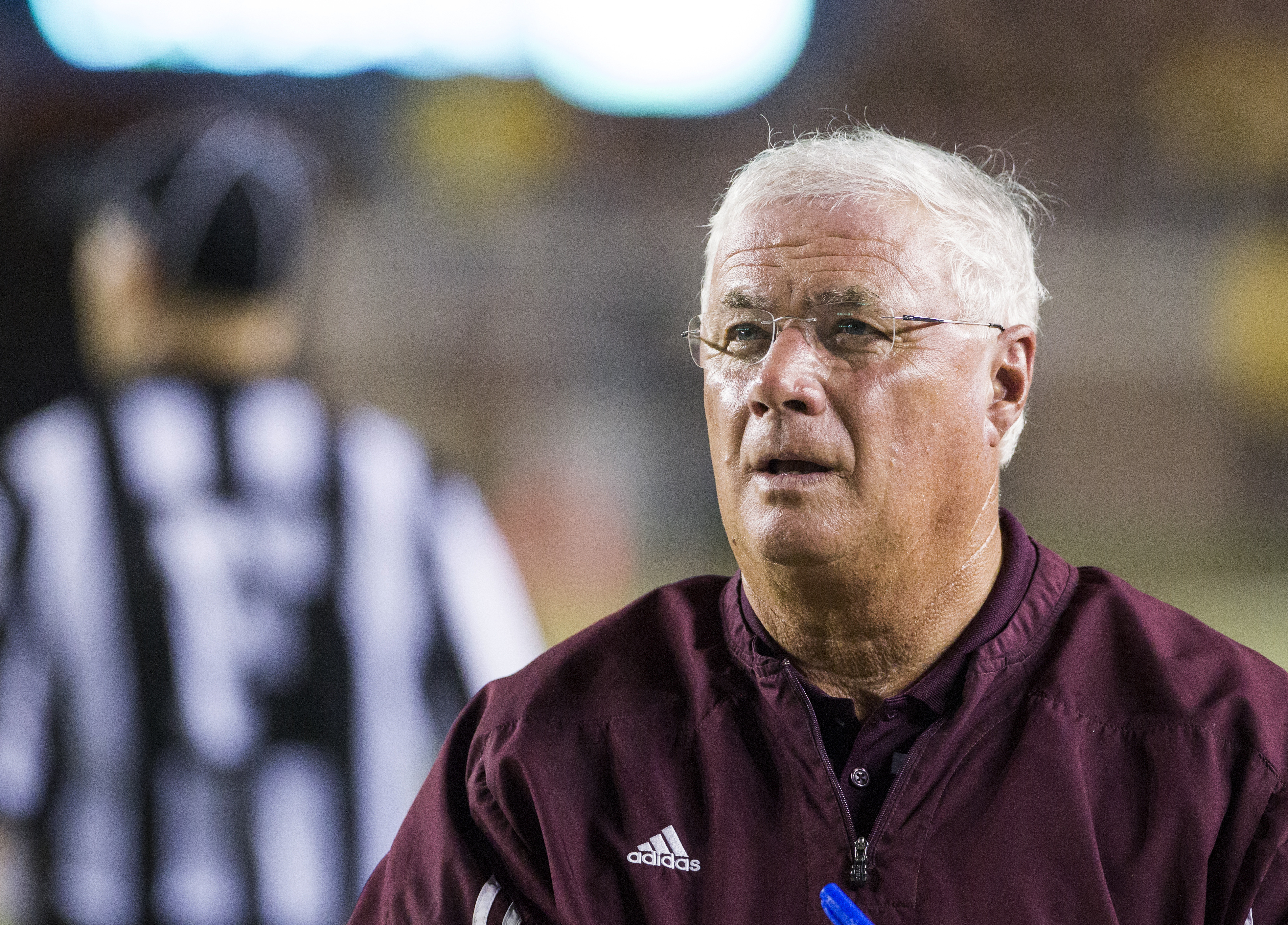 Texas State head coach Dennis Franchione looks up during the first half of his team's NCAA college football game against Florida State in Tallahassee, Fla., Saturday, Sept. 5, 2015. (AP Photo/Mark Wallheiser)