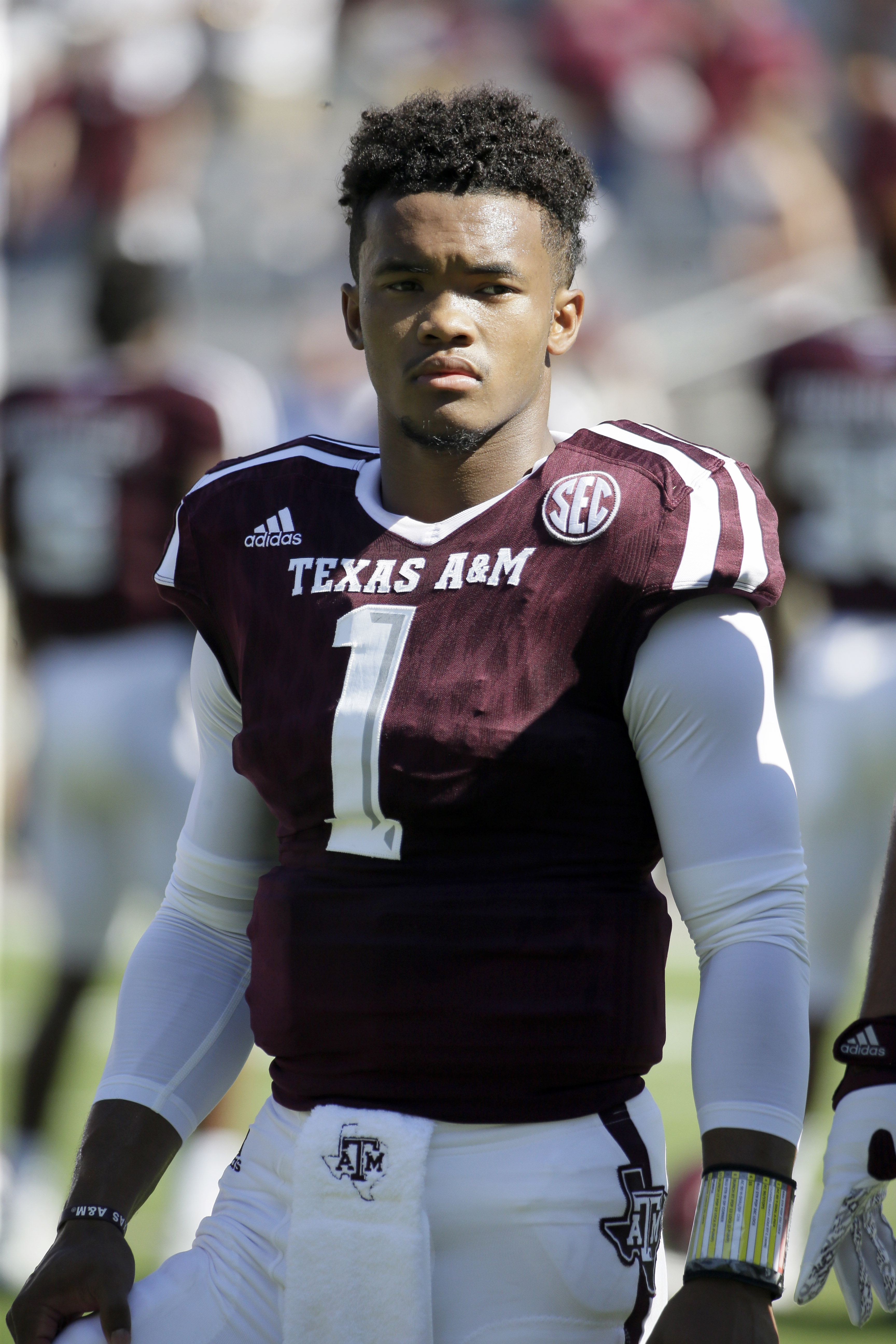 Texas A&M quarterback Kyler Murray (1) waits to sing a school song before an NCAA college football game against Nevada Saturday, Sept. 19, 2015, in College Station, Texas. (AP Photo/David J. Phillip)