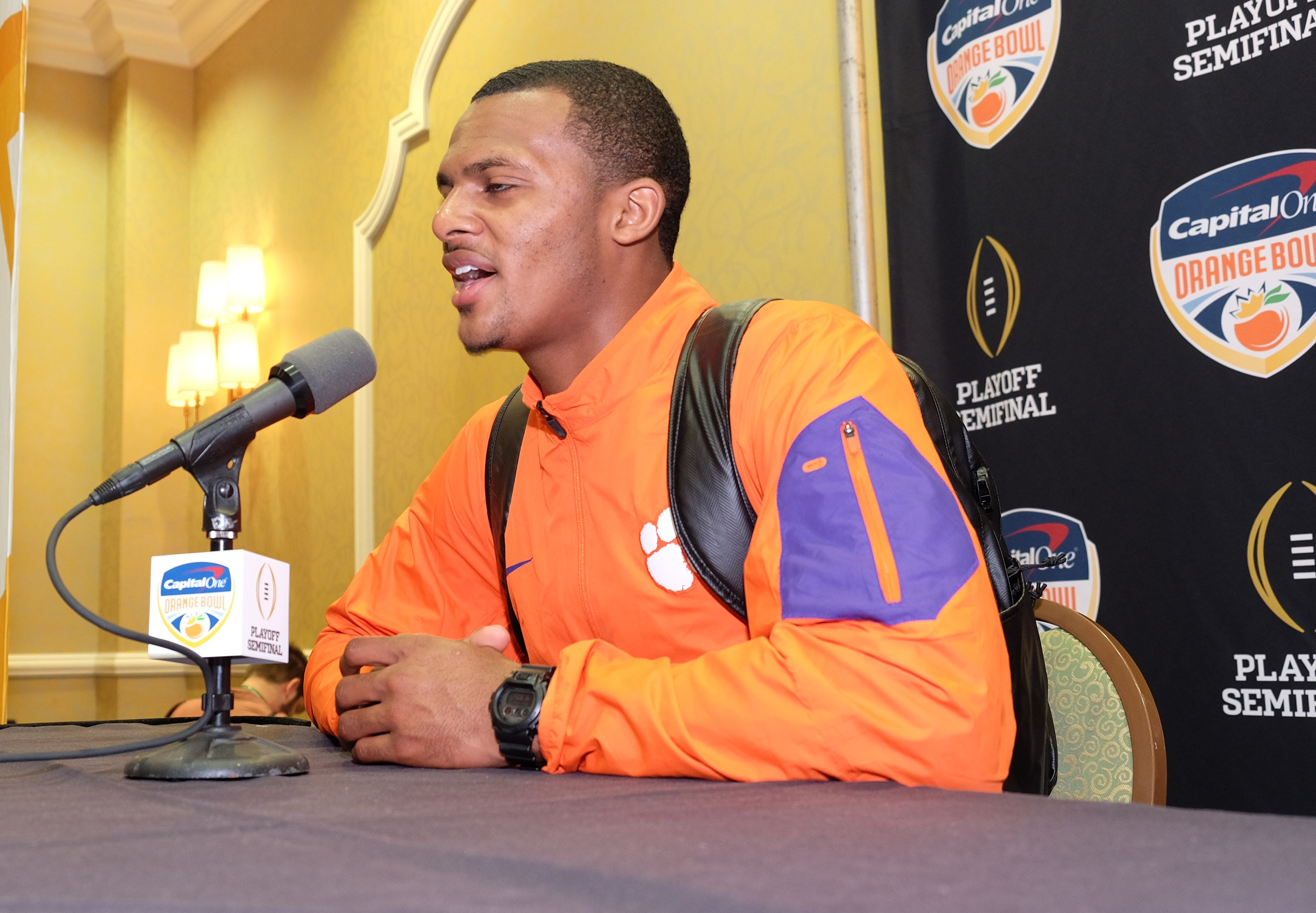 Clemson quarterback Deshaun Watson speaks to the media at a press conference in Fort Lauderdale, Fla., Sunday, Dec. 27, 2015. Oklahoma will play Clemson in the Orange Bowl on New Year's Eve. (AP Photo/Gaston De Cardenas)
