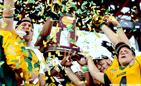 04 January 2014: North Dakota State Bison players celebrate after winning the game between the North Dakota State Bison and the Towson Tigers in the 2014 Division 1 Championship game at Toyota Stadium in Frisco, Texas. North Dakota State beats Towson 35-7