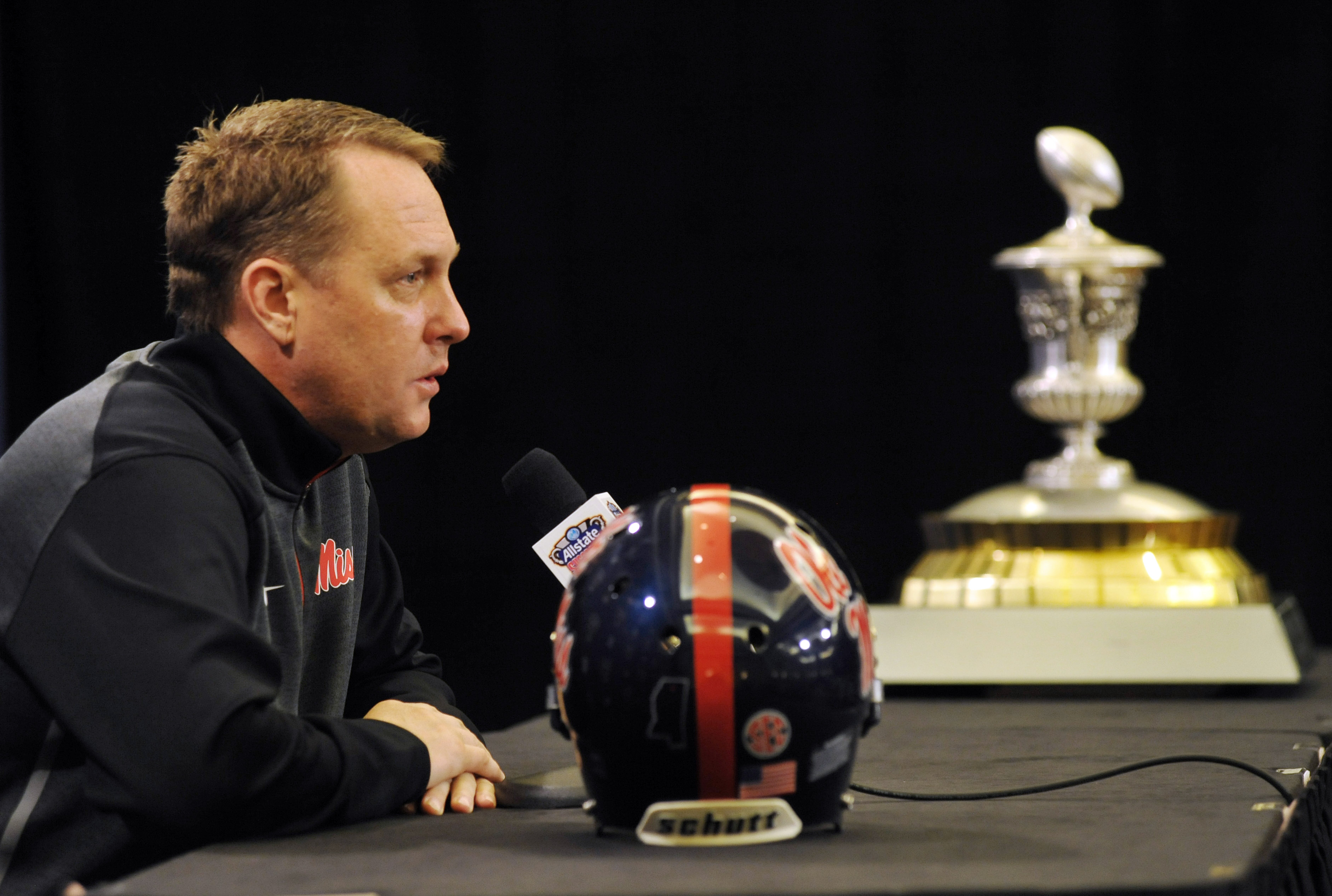 Mississippi head coach Hugh Freeze speaks speaks during a press conference for the Sugar Bow NCAA college football game, Thursday, Dec. 31, 2015, in New Orleans. Mississippi plays Oklahoma State on New Year's Day.  (Bruce Newman/The Oxford Eagle via AP)