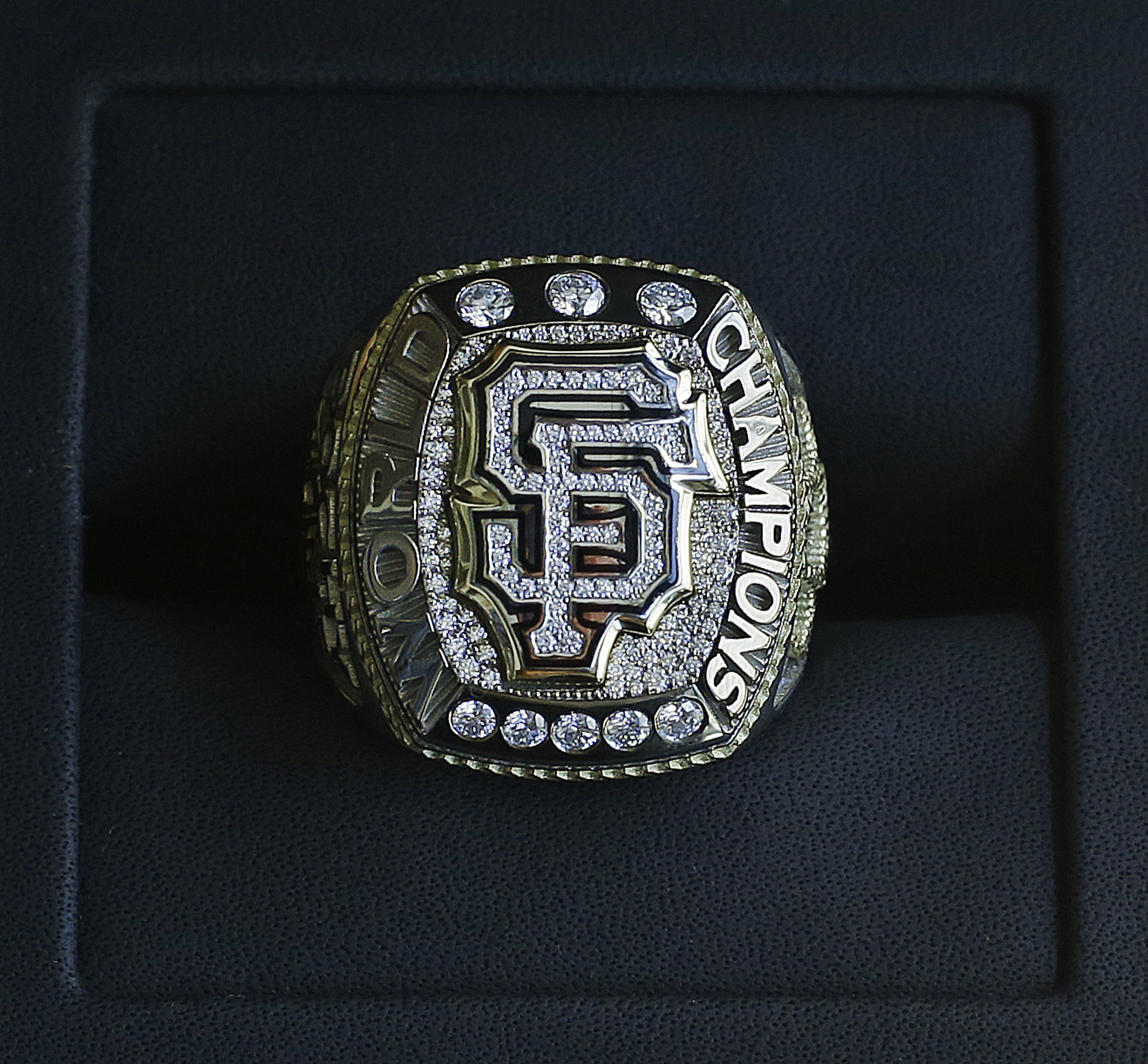 The 2014 World Series championship ring belonging to San Francisco Giants manager Bruce Bochy is displayed prior to the Giants' baseball game against the Arizona Diamondbacks on Saturday, April, 18, 2015, in San Francisco. (AP Photo/Ben Margot)