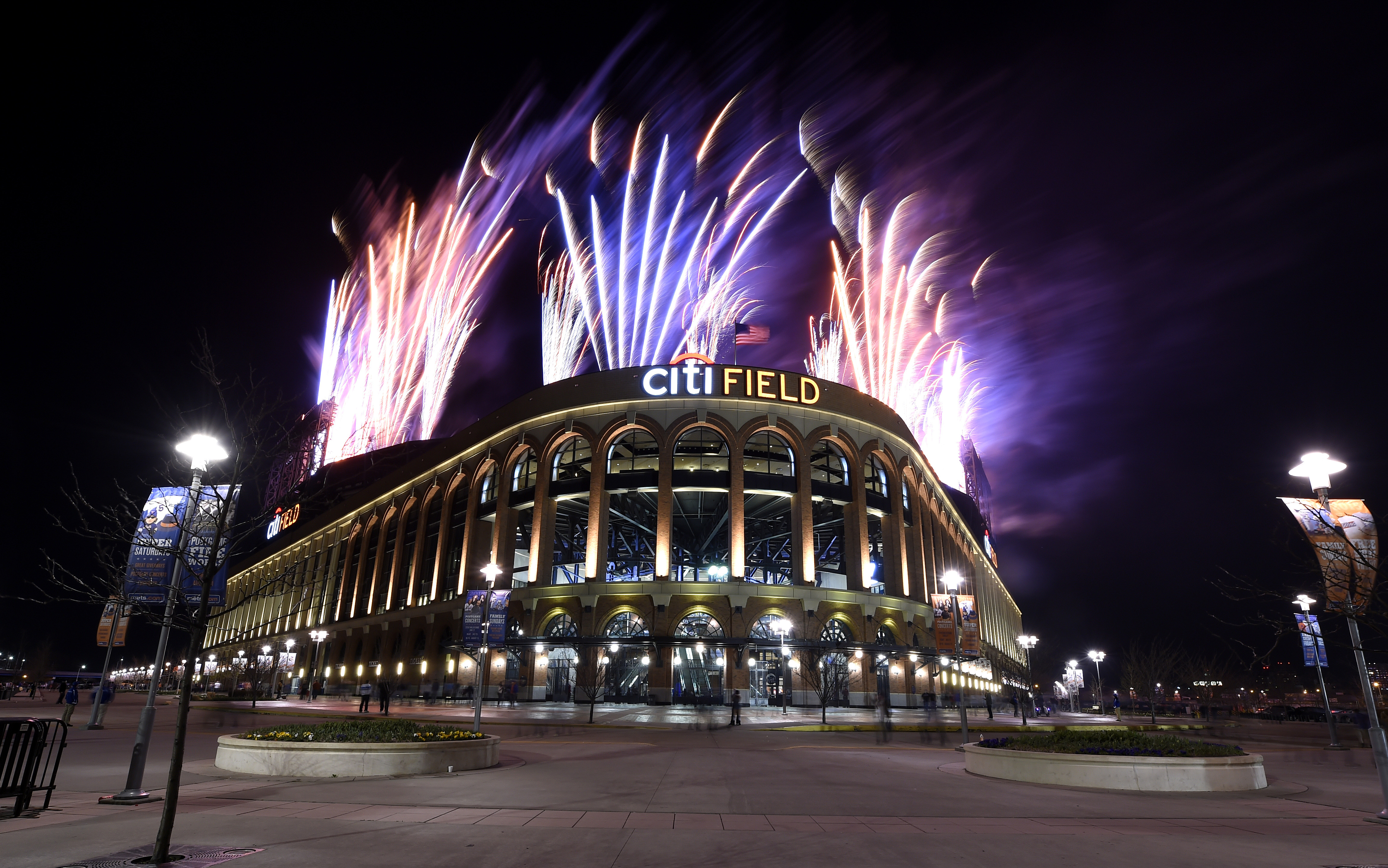 Fireworks soar over Citi Field on Fireworks Night after the New York Mets defeated the Miami Marlins 5-4 in a baseball game on Saturday, April 18, 2015, in New York. (AP Photo/Kathy Kmonicek)