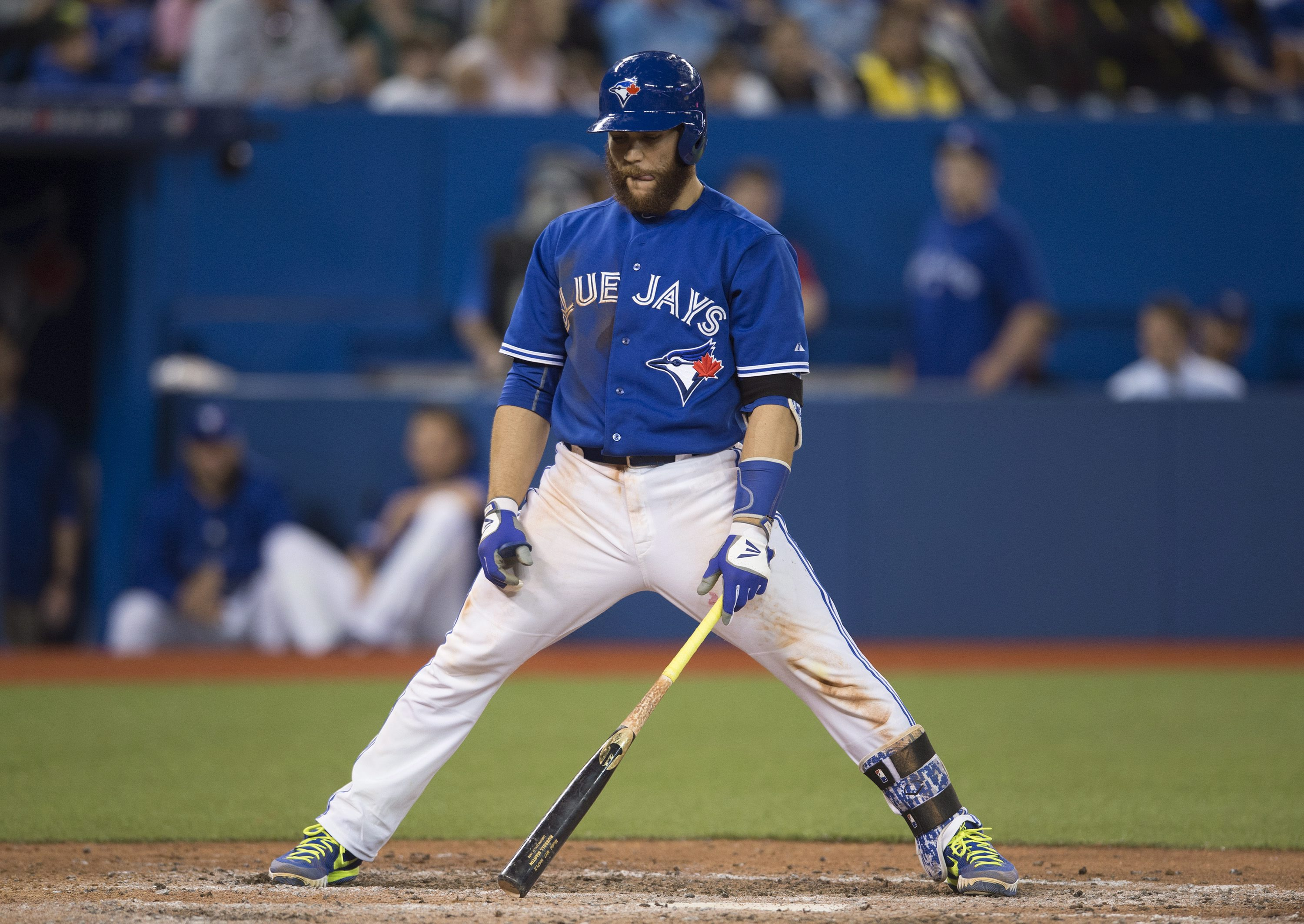 Toronto Blue Jays' Russell Martin reacts after striking out in the eighth inning of interleague baseball action against the Atlanta Braves in Toronto on Sunday, April 19, 2015. (Darren Calabrese/The Canadian Press via AP) MANDATORY CREDIT