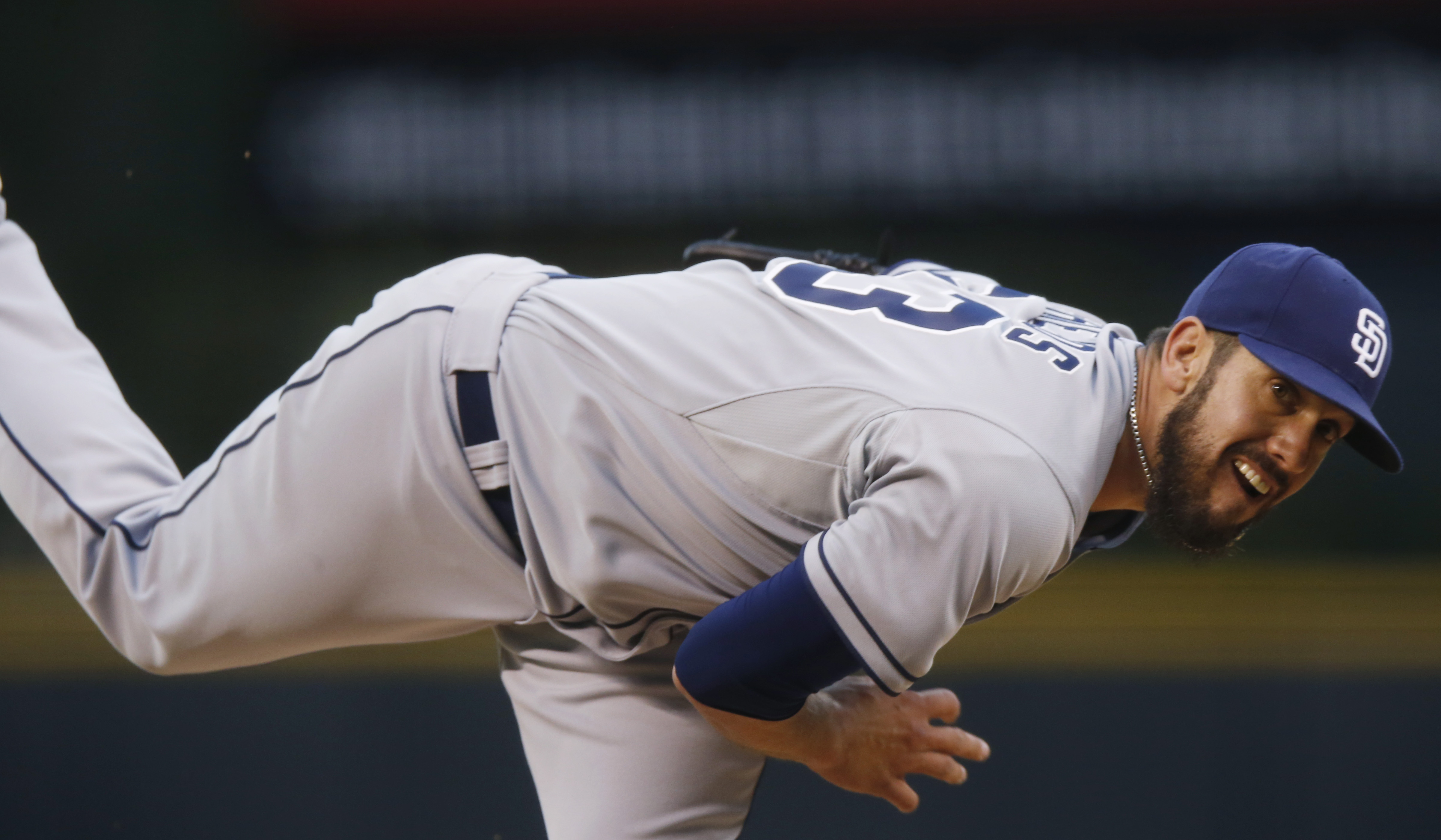 San Diego Padres starting pitcher James Shields (33) delivers a pitch against the Colorado Rockies in the first inning of a baseball game Wednesday, April 22, 2015, in Denver. (AP Photo/David Zalubowski)