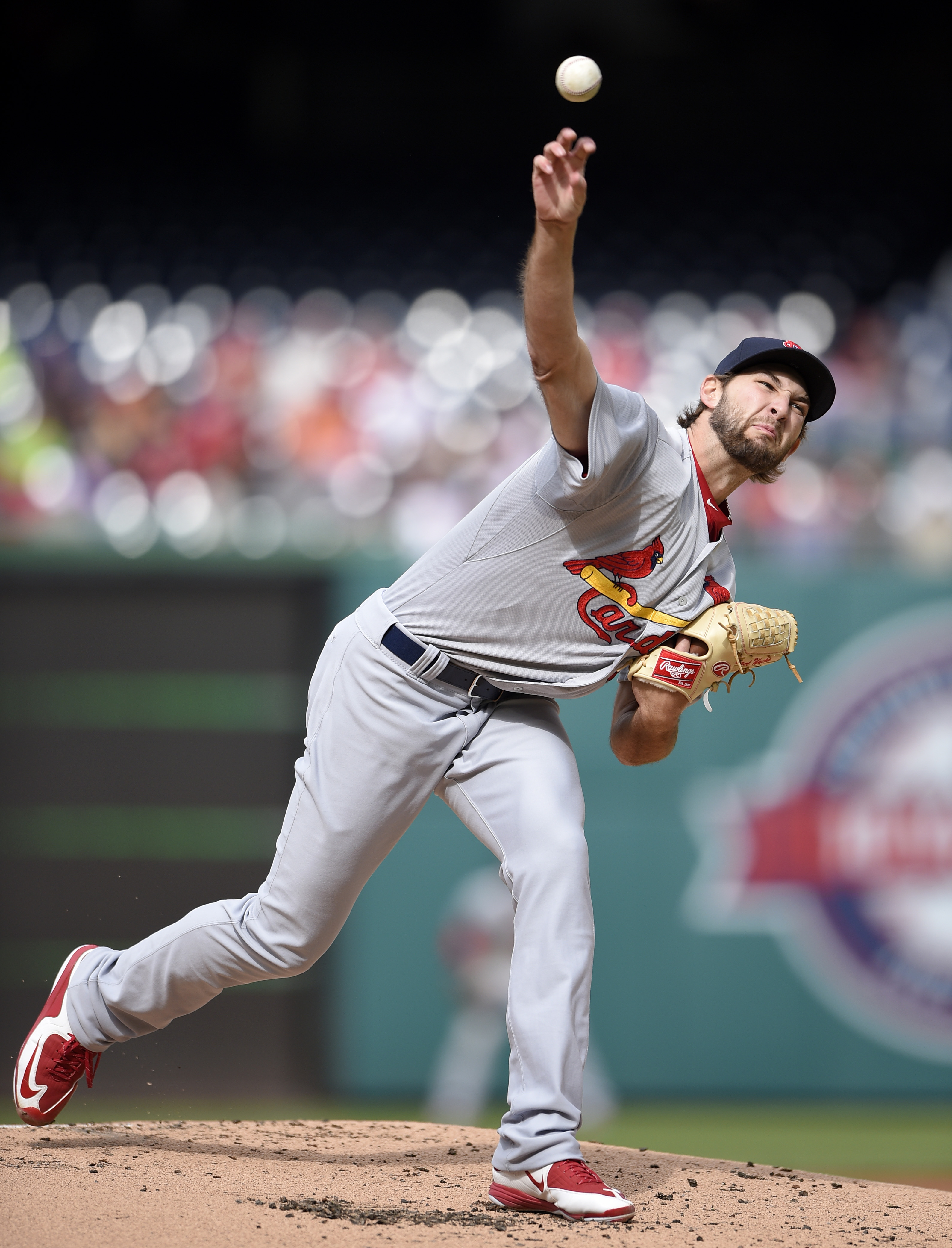St. Louis Cardinals starting pitcher Michael Wacha (52) delivers a pitch during the first inning of a baseball game against the Washington Nationals, Thursday, April 23, 2015, in Washington. (AP Photo/Nick Wass)
