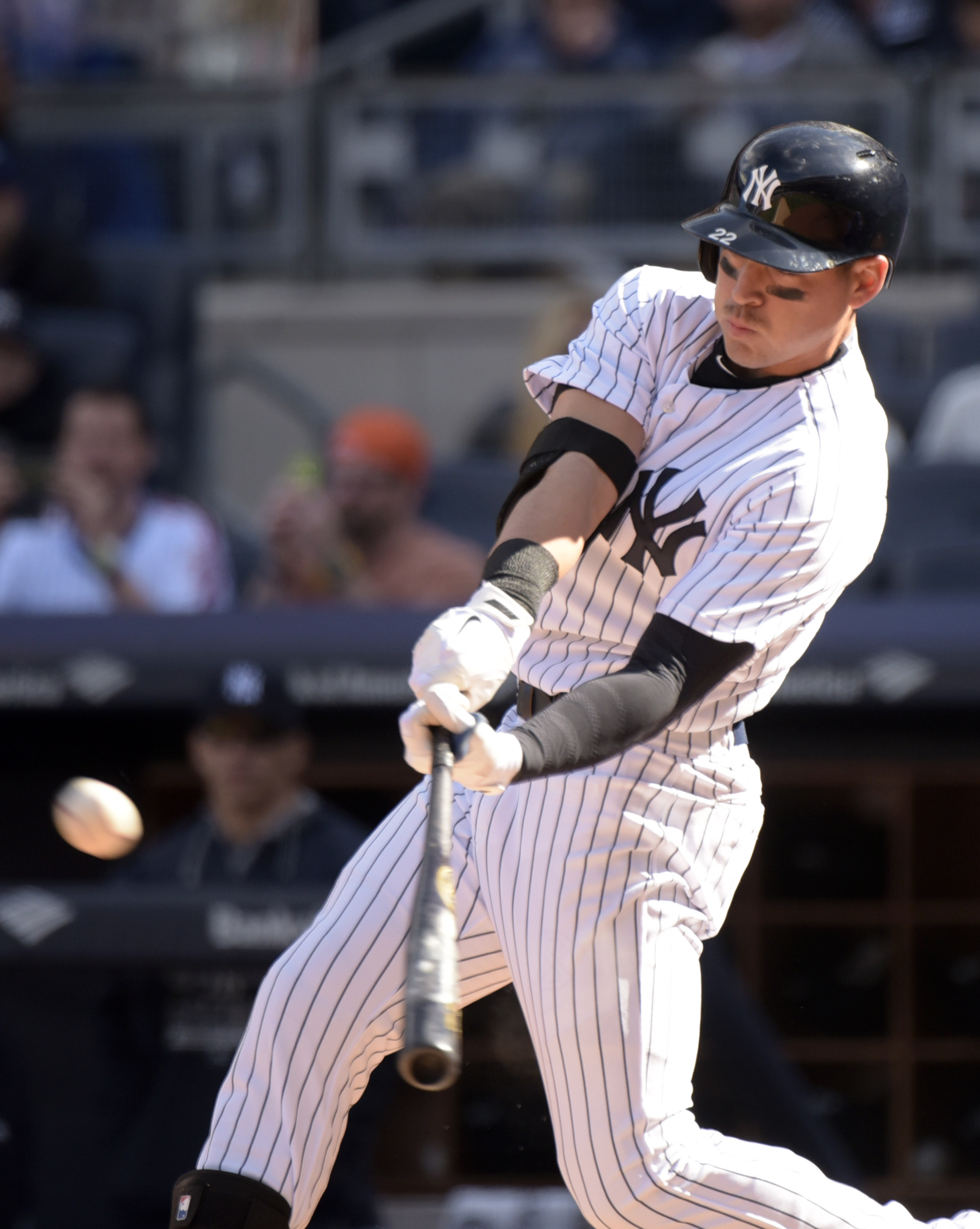 New York Yankees' Jacoby Ellsbury, sporting a mustache, flies out during the first inning of an interleague baseball game agains the New York Mets Saturday, April 25, 2015, at Yankee Stadium in New York. (AP Photo/Bill Kostroun)