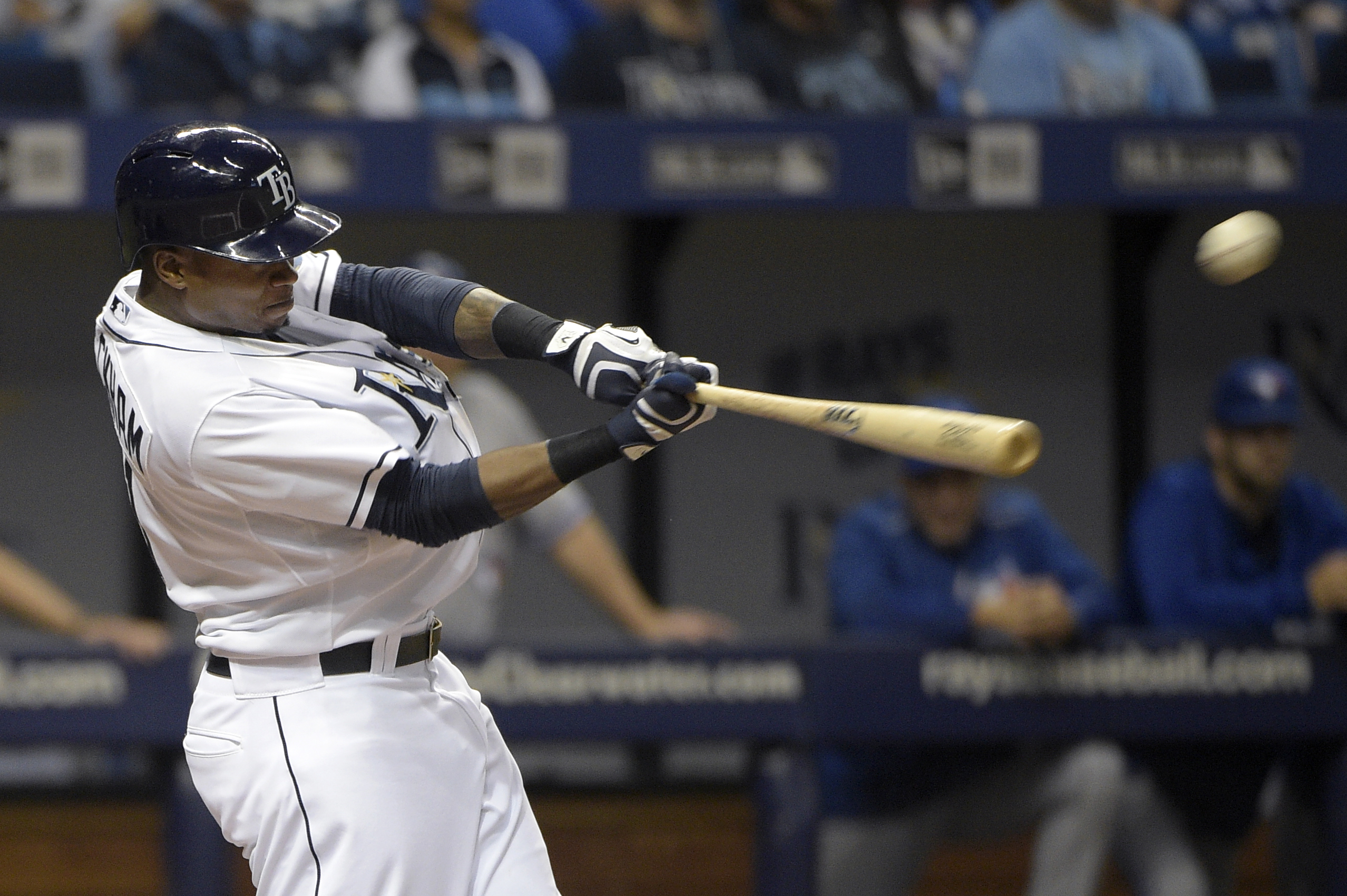 Tampa Bay Rays' Tim Beckham hits a two-RBI double during the eighth inning of a baseball game against the Toronto Blue Jays in St. Petersburg, Fla., Saturday, April 25, 2015. The Rays won 4-2.(AP Photo/Phelan M. Ebenhack)