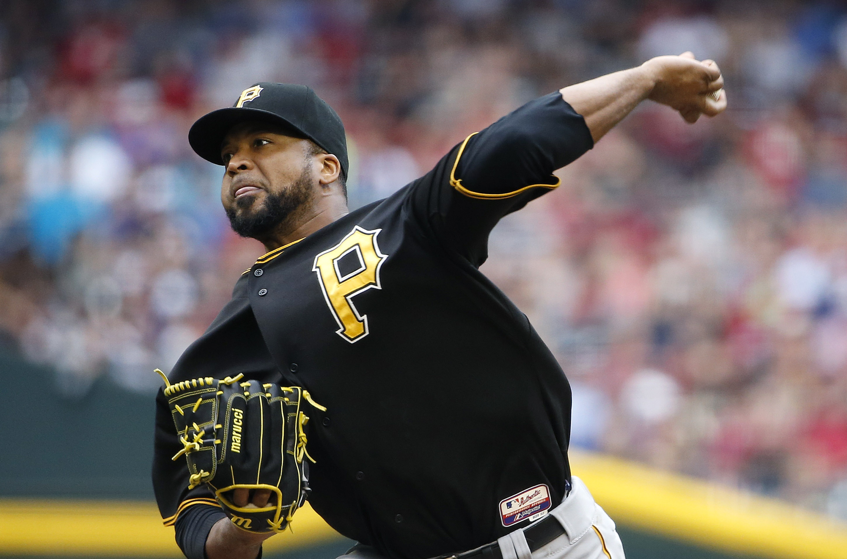 Pittsburgh Pirates' Francisco Liriano throws a pitch against the Arizona Diamondbacks during the first inning of a baseball game Sunday, April 26, 2015, in Phoenix. (AP Photo/Ross D. Franklin)