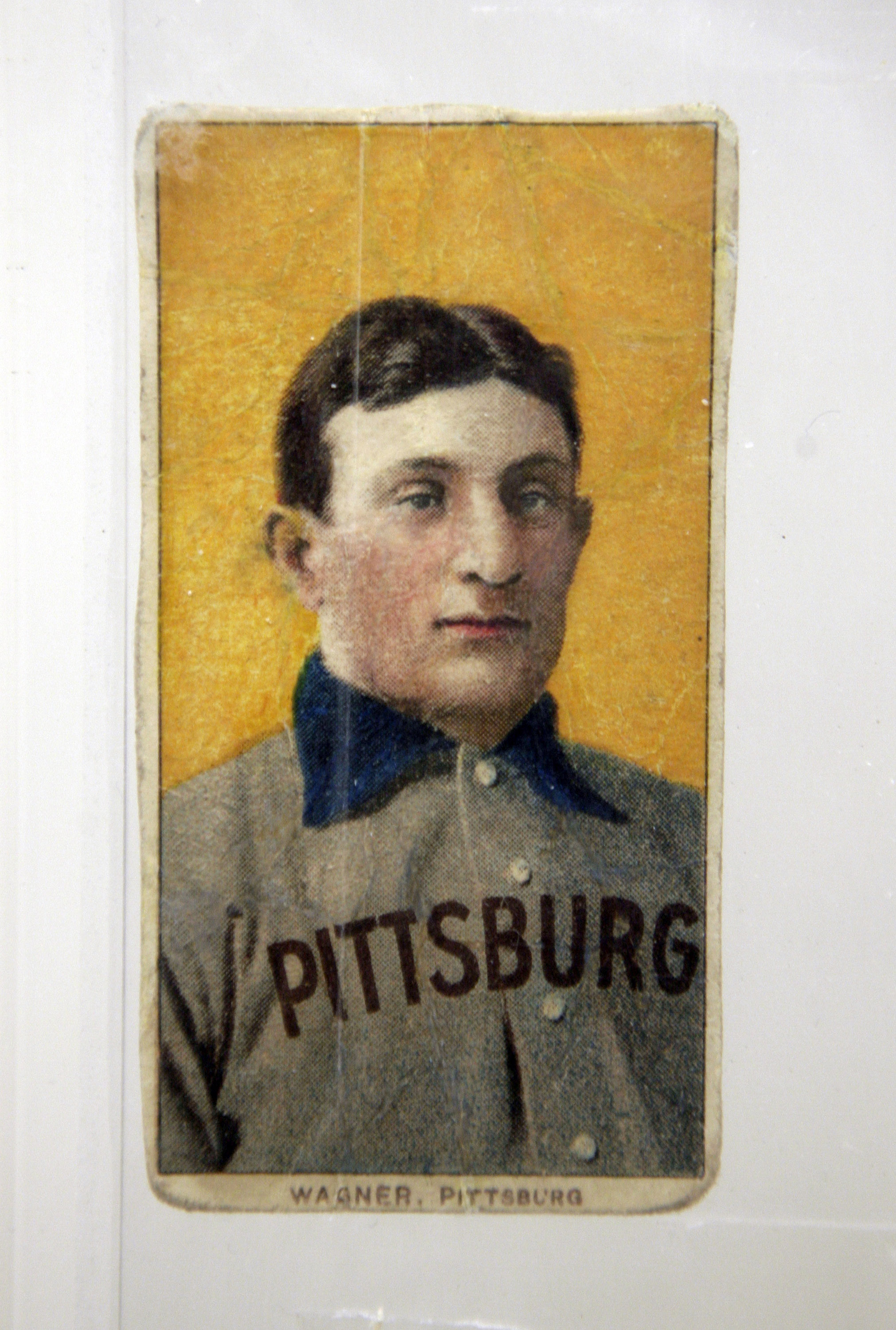 A Honus Wagner baseball card, seen at the Sports Museum of Los Angeles on Tuesday, Nov. 18, 2008, in Los Angeles, is valued at more than $2 million. (AP Photo/Ric Francis)