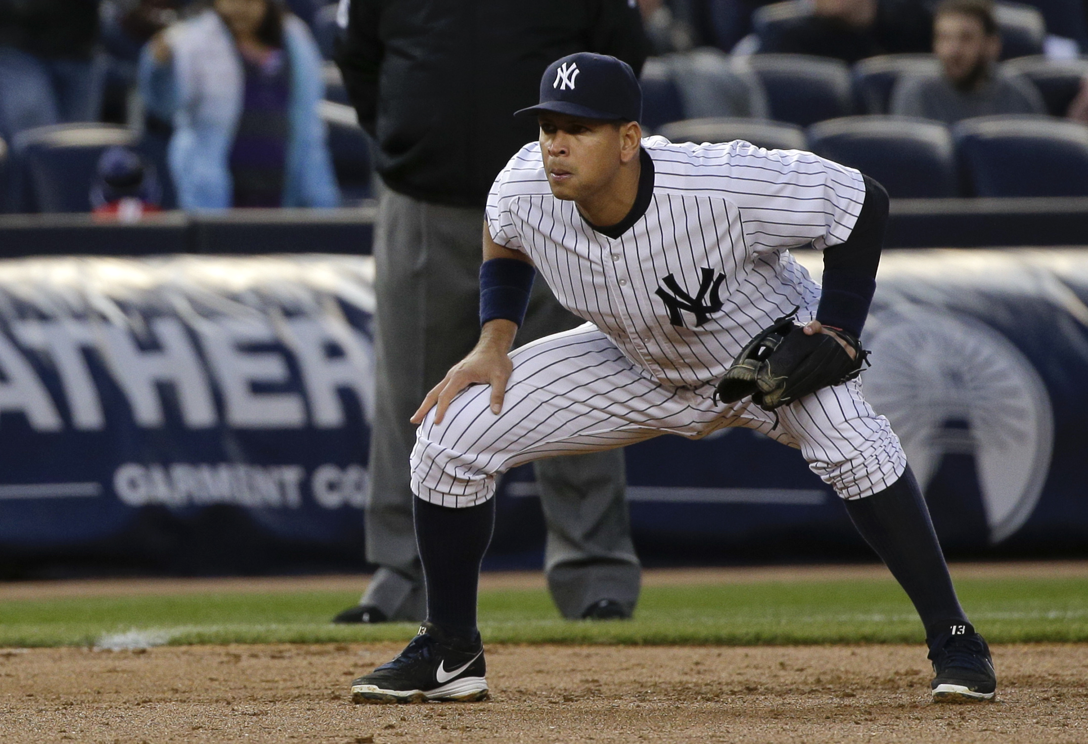 New York Yankees third baseman Alex Rodriguez prepares for a pitch against the Tampa Bay Rays in the second inning of a baseball game, Monday, April 27, 2015, in New York. (AP Photo/Julie Jacobson)