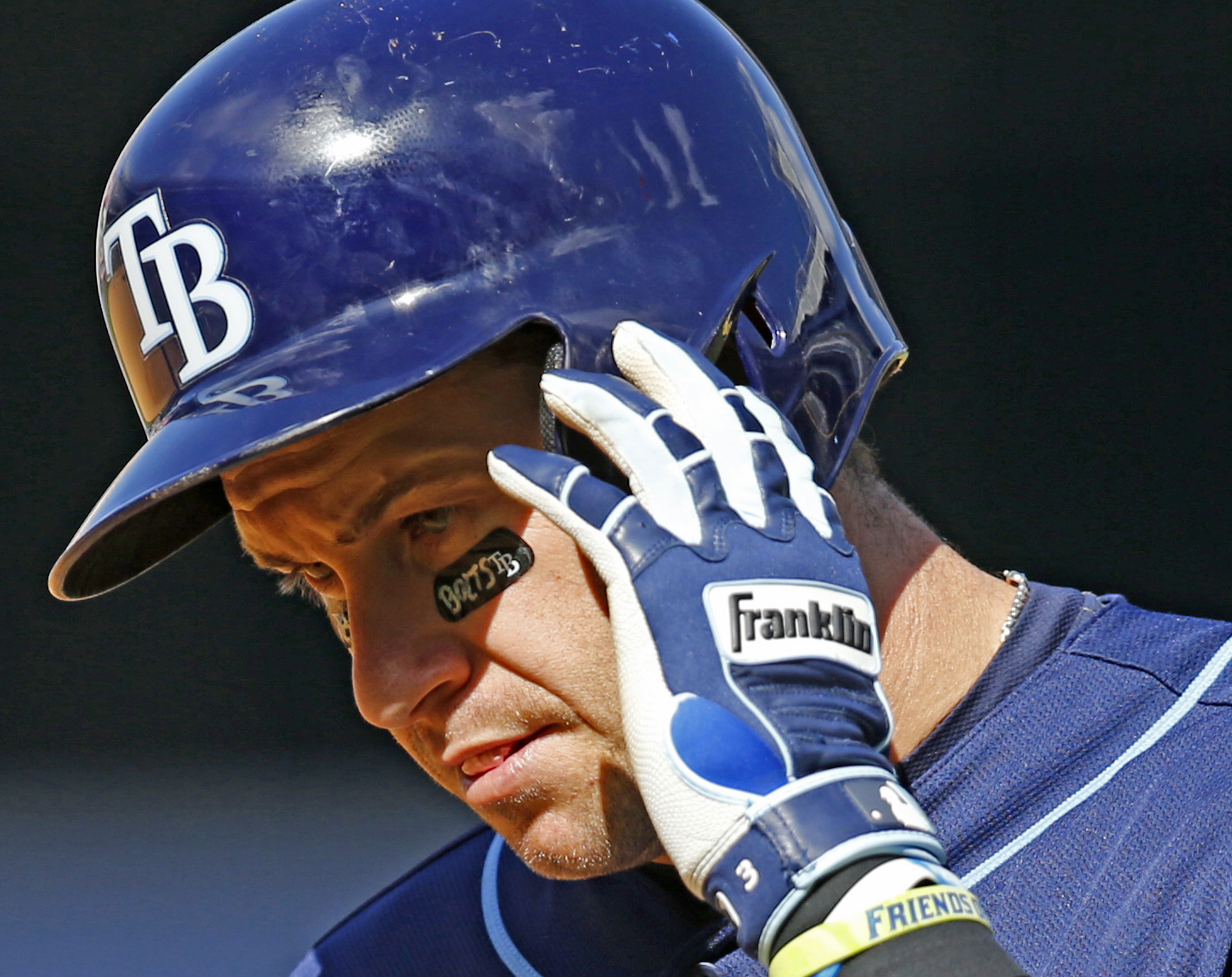 Tampa Bay Rays Evan Longoria shows eye black supporting the Tampa Bay Lightning who are in the Stanely Cup hockey playoffs, during a baseball game against the New York Yankees at Yankee Stadium in New York, Wednesday, April 29, 2015.  (AP Photo/Kathy Will